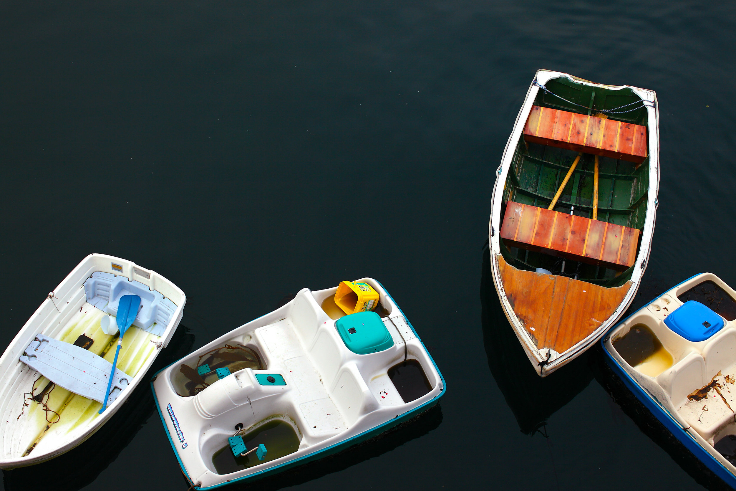 Rowboats floating in calm green water