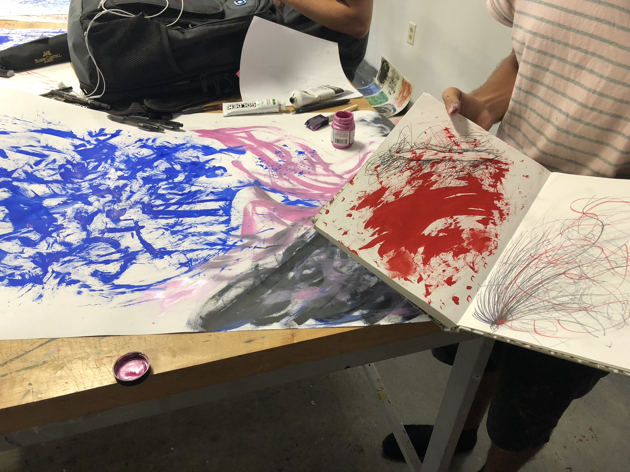 I taught an  Introduction to Mark Making  workshop for Wesley Taylor's Surface Research class for VCU's Art Foundations,. The goal was to encourage students to embrace abstraction and experimentation and my lesson plan was inspired by Nicole Killian's Mediums Misuse class, also at VCU.