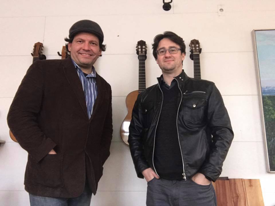 With luthier Peter Tsiorba in Portland, OR