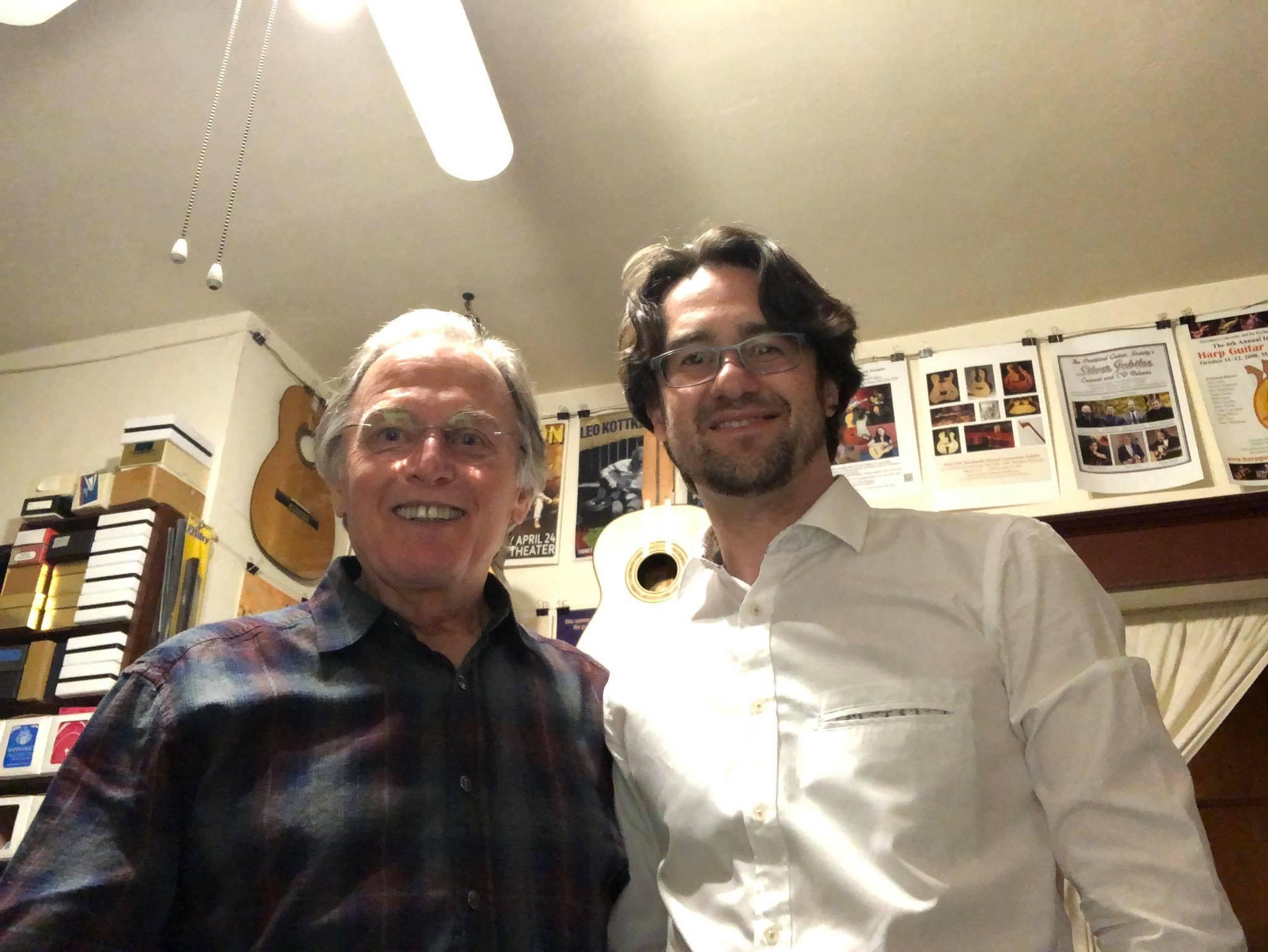 With legendary luthier Jeffrey Elliot in Portland, Oregon