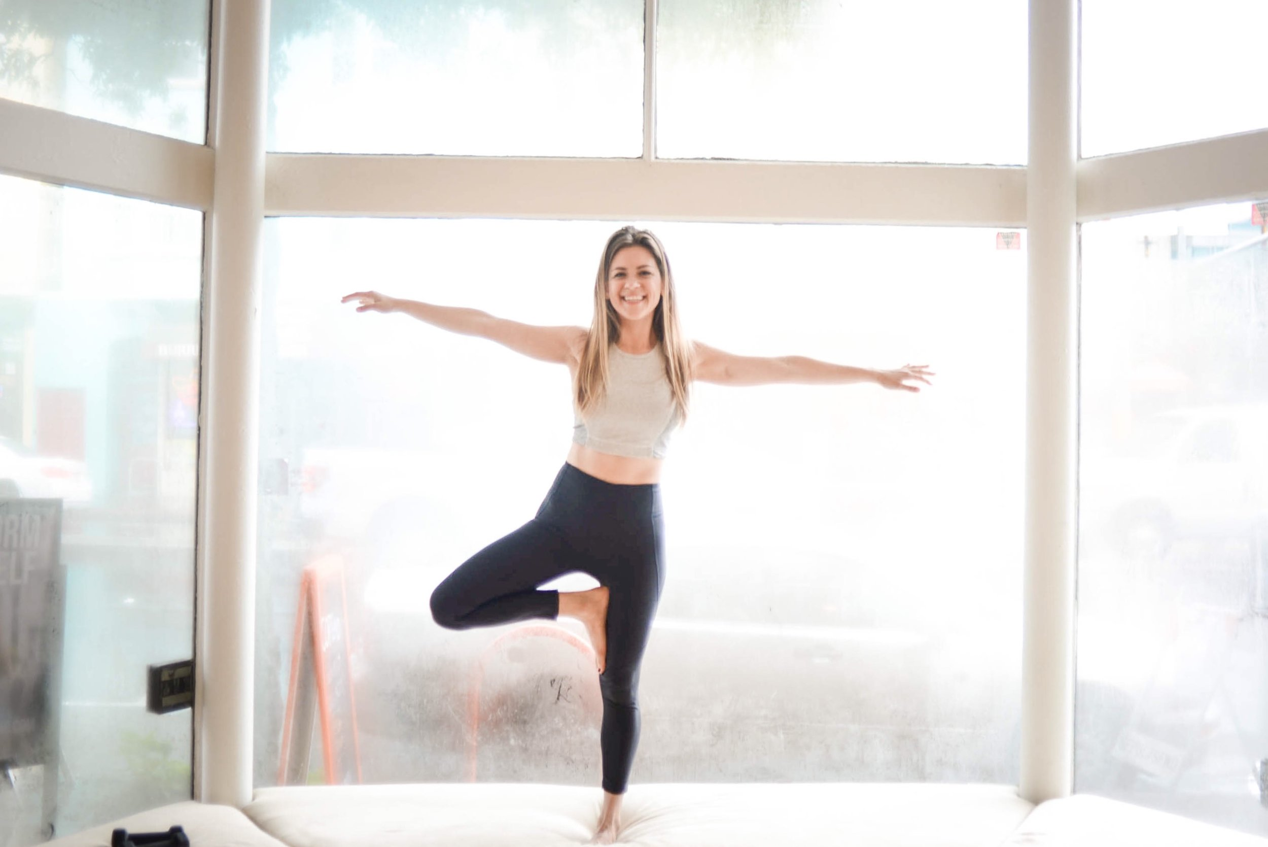 Weekends can be a balancing act.  Leggings  in Charcoal. Same top, similar colors  here  and  here .
