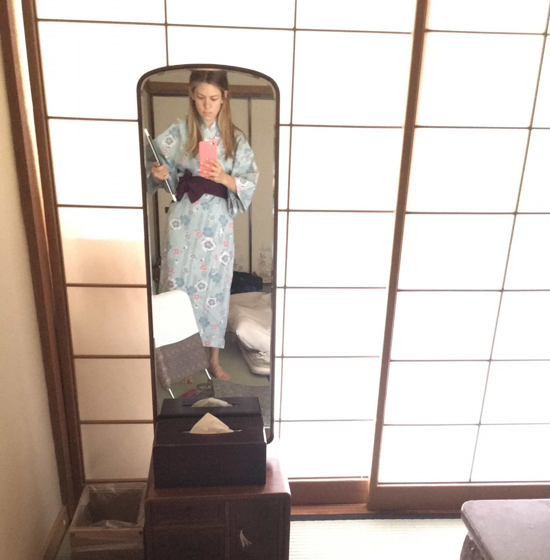 This is me at  Takagarawa Onsen  in Osenkaku, Japan.Seriously,click the link. We're talking full-blown remote hot spring vacation status when my friend Sarah said she wanted to chat about two potential next roles she was considering within her current company.I was so excited to hear about what new and exciting opportunities she was facing, so my kimono and I put aside the time early in the morning for a call! I know she'd be happy to do the same for me.