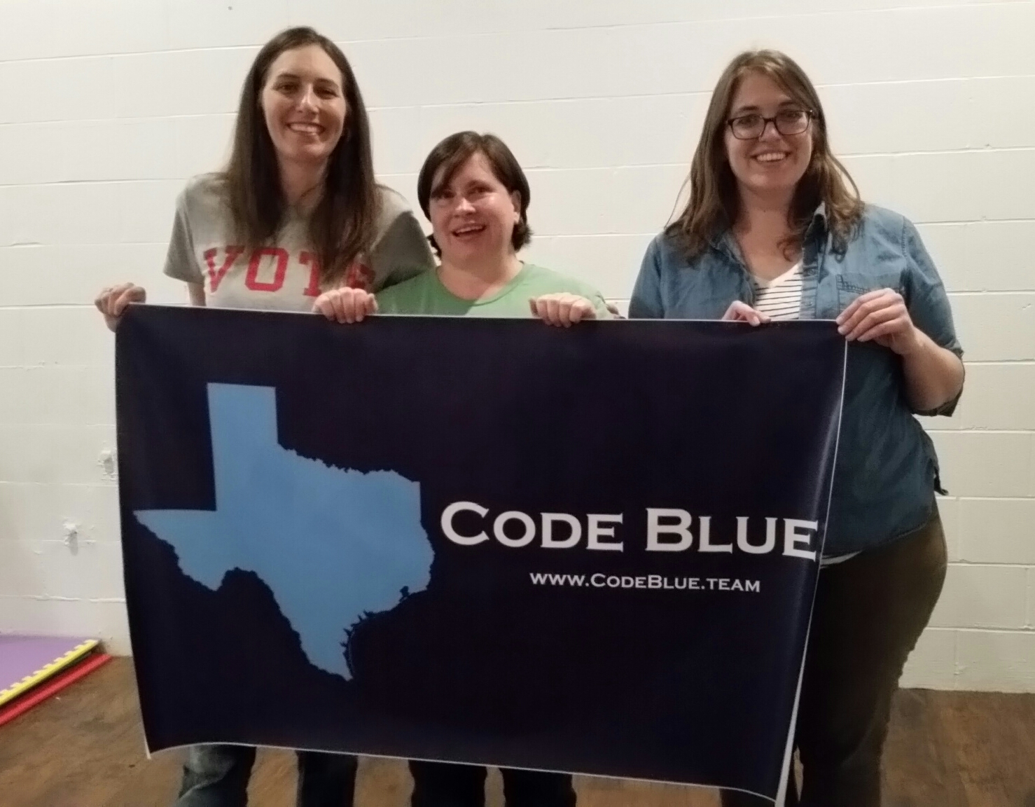 Code Blue Austin Captains: Anne Marie Love, Tiffany Miller, and Simone Laurent  At the first Code Blue Texas meeting on January 16th, 2017