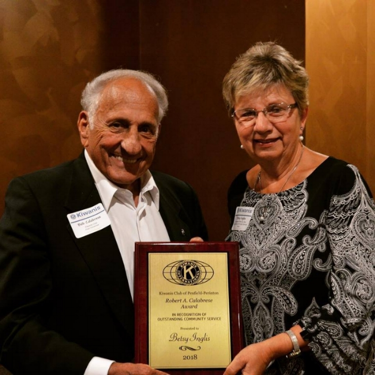 2nd Annual Robert A Calabrese  Award Recipient  - September 2018: Congratulations to Betsy Ingles who was the recipient of the Robert A Calabrese Award for Outstanding Community Service at our annual Community Awards Dinner Tuesday Night. Betsy was the Director at the Shepherd Home in Penfield for several years until her retirement this past year. Congratulations Betsy and thank you for your hard work and dedication to comfort care for our loved ones.