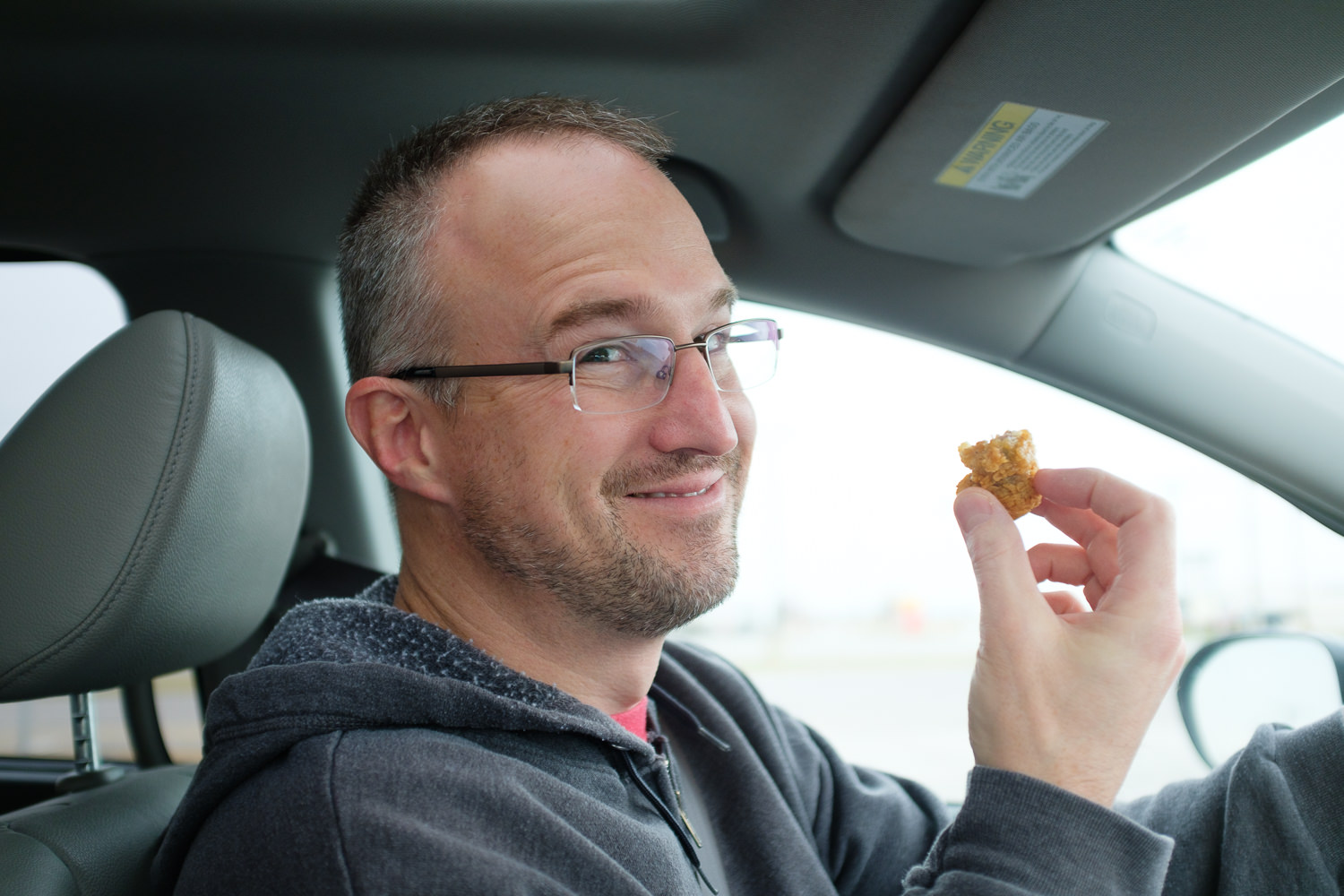 X100F eating gizzards in the car