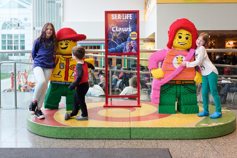 kids on Lego display in Crown Center Kansas City