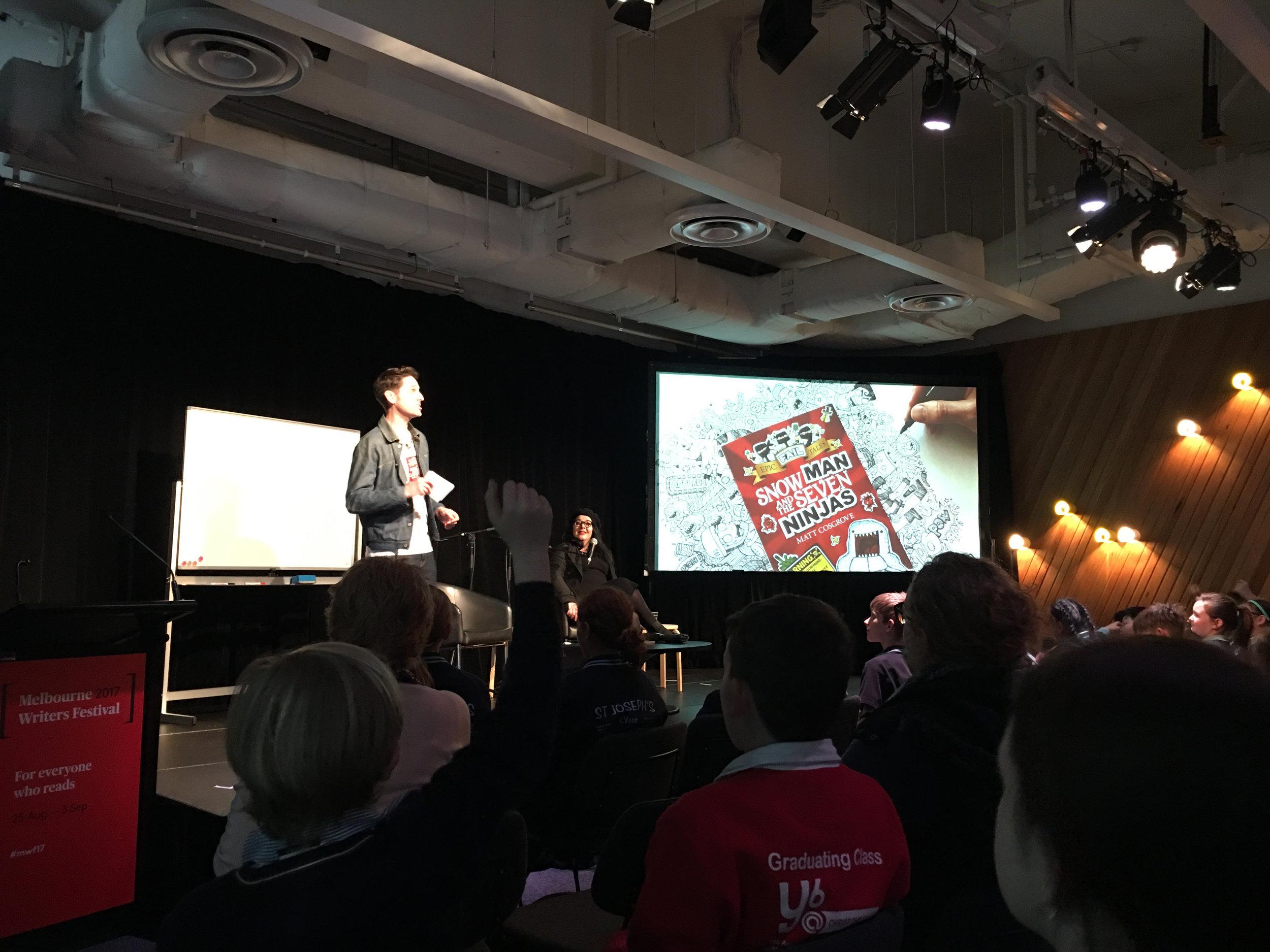 Matt Cosgrove performing at ACMI The Cube for Melbourne Writers Festival Schools' Program