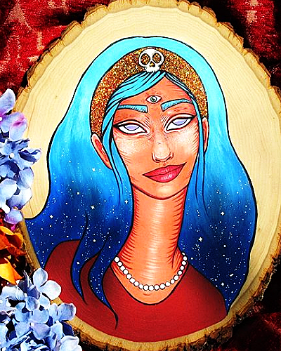 Celestial Gypsy -                Painting, 2017       Acrylic & glitter on wood                       $150