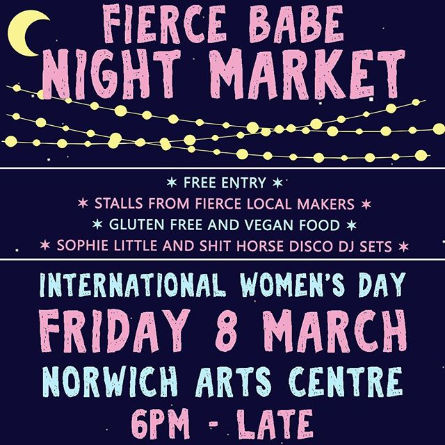 So excited to be part of @fiercebabenorwich  night market. Taking place this Friday at Norwich Arts Centre.  Shopping, DJ's & Food! The perfect formula for a cracking Friday night. 😉 👋