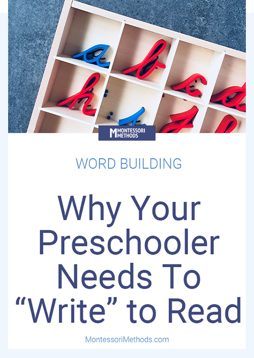 Learn why your child needs to build words with a moveable alphabet before learning how to read. #montessori #preschoolactivities