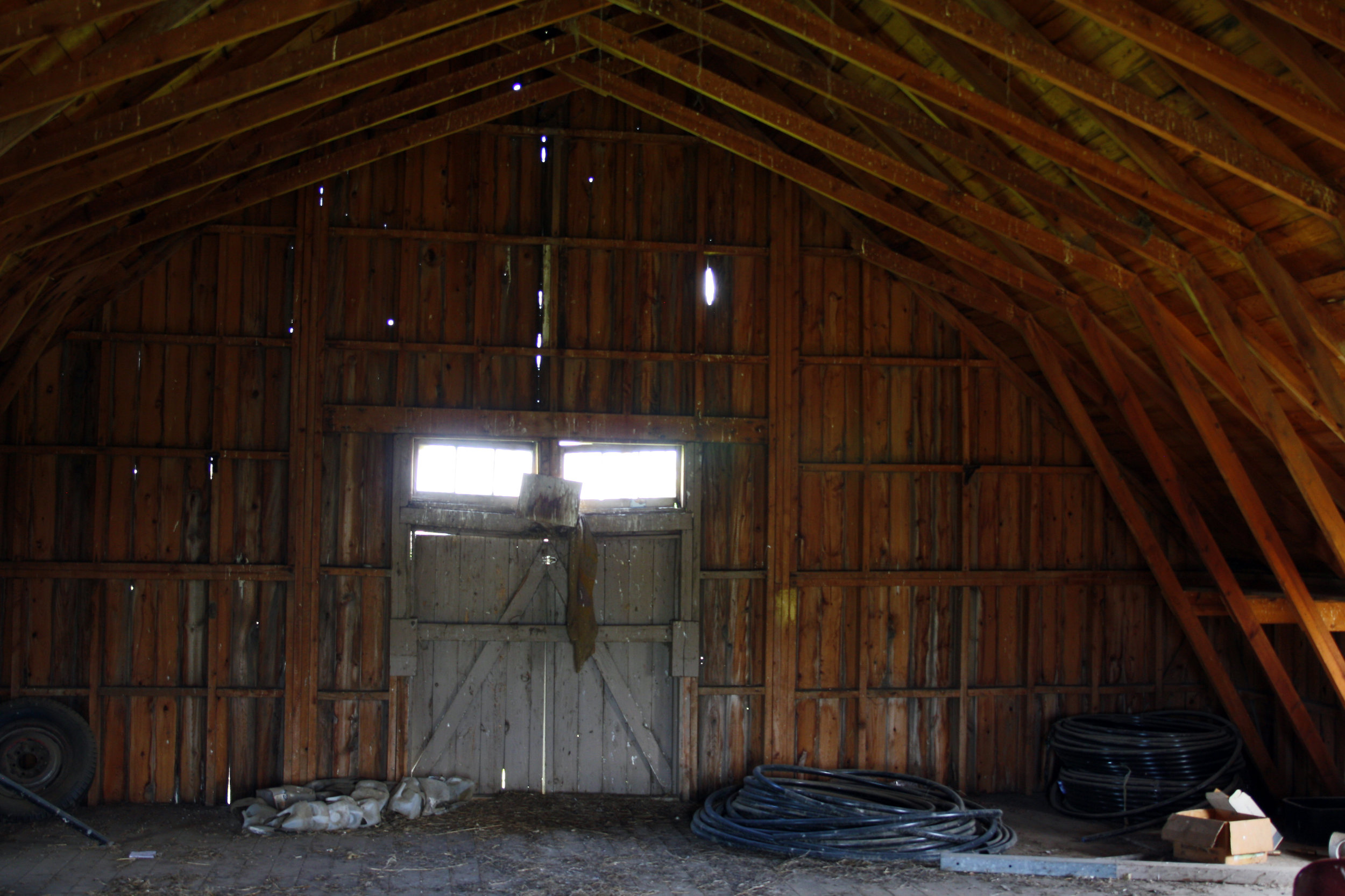View from the second floor of the barn, looking north.