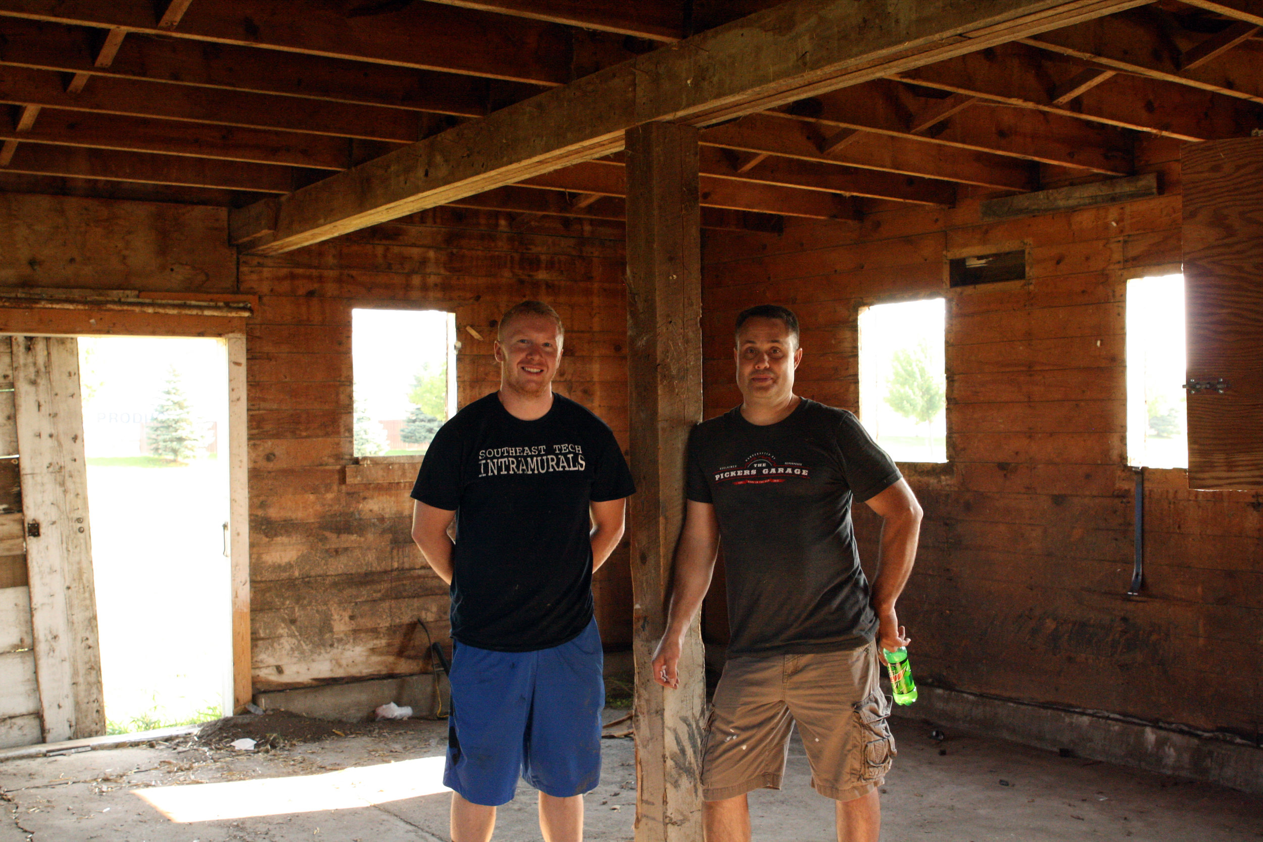 The team from Banking Barns of Hills, Minnesota, is doing the work.