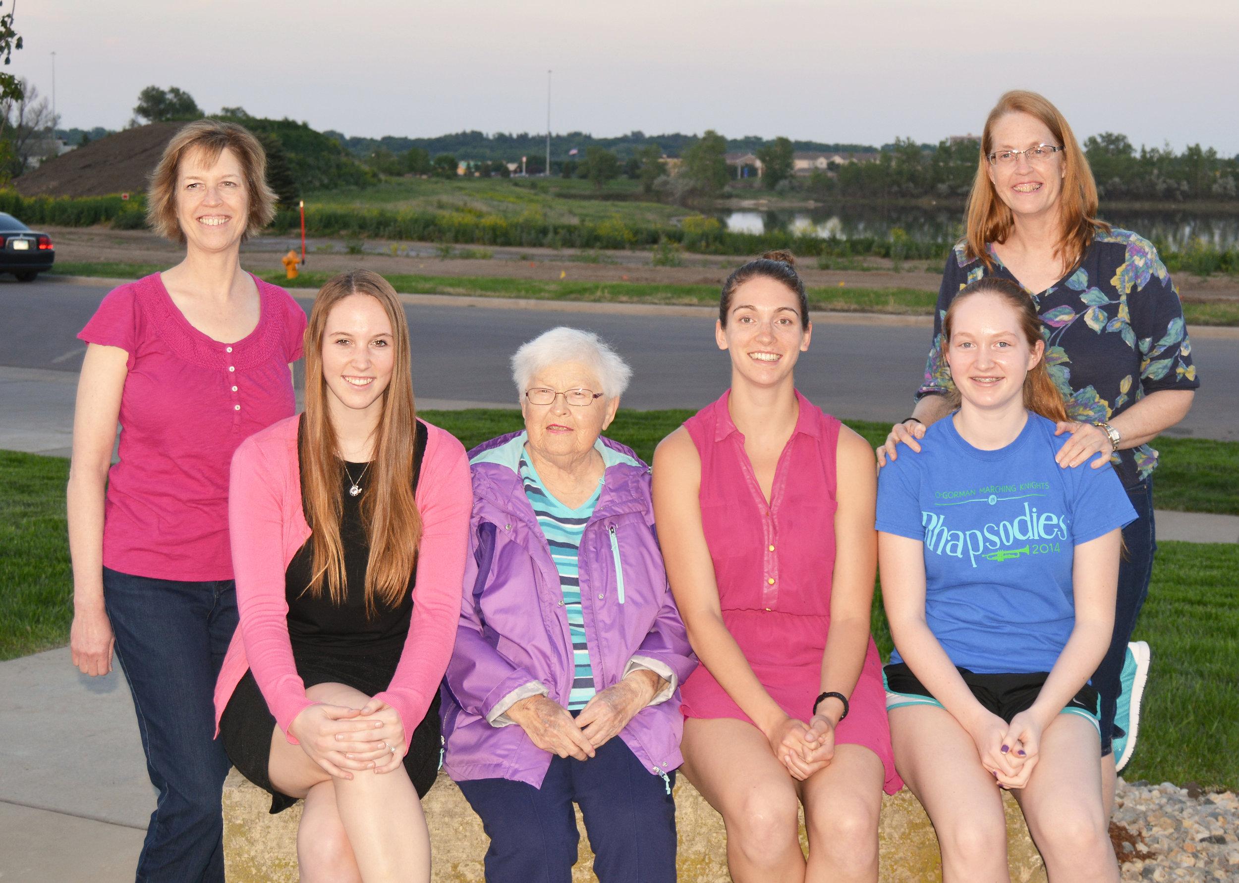Three generations of Friessen women: Cindy Monnin, Allie Hubers, Hilda Lorraine Friessen, Katie Monnin, Angie Vognild, Patty Vognild.