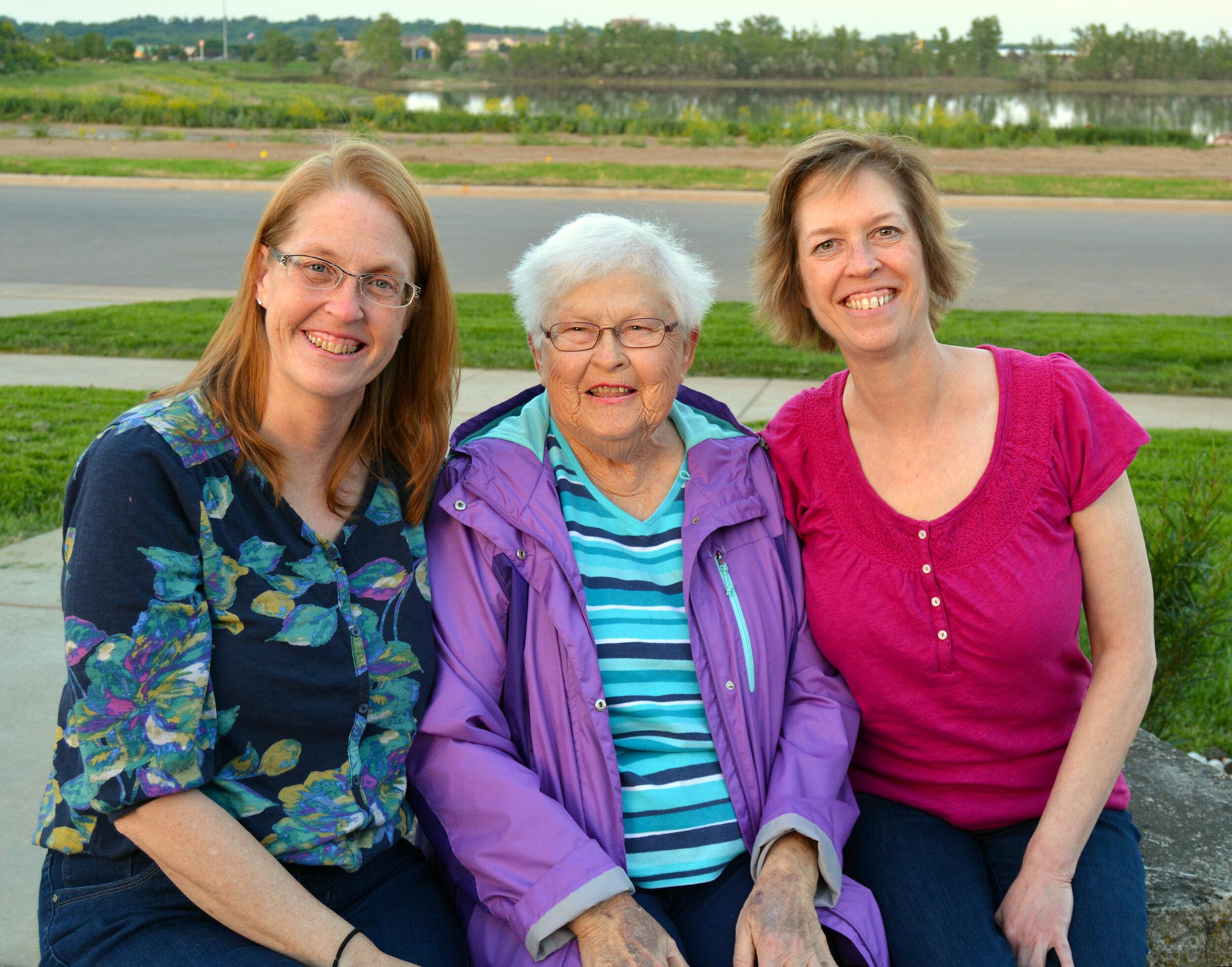 Lake Lorraine namesake Hilda Lorraine Friessen with her two daughters, Patty Vognild and Cindy Monnin.