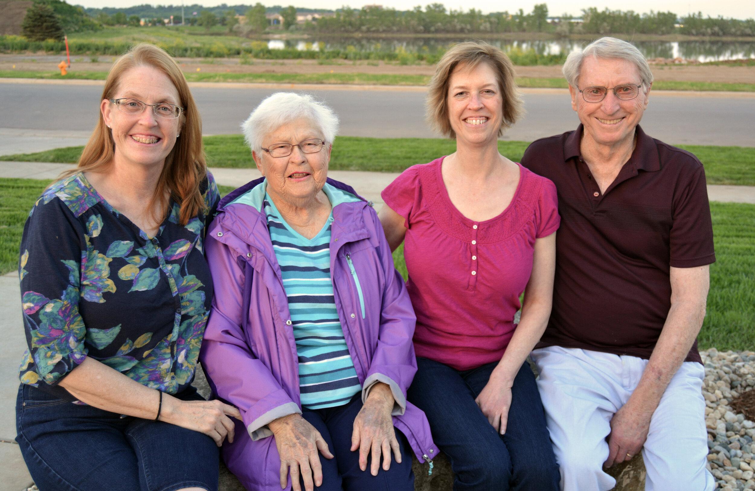 The Friessen family: Patty Vognild, Hilda Lorraine Friessen, Cindy Monnin and Warren Friessen.