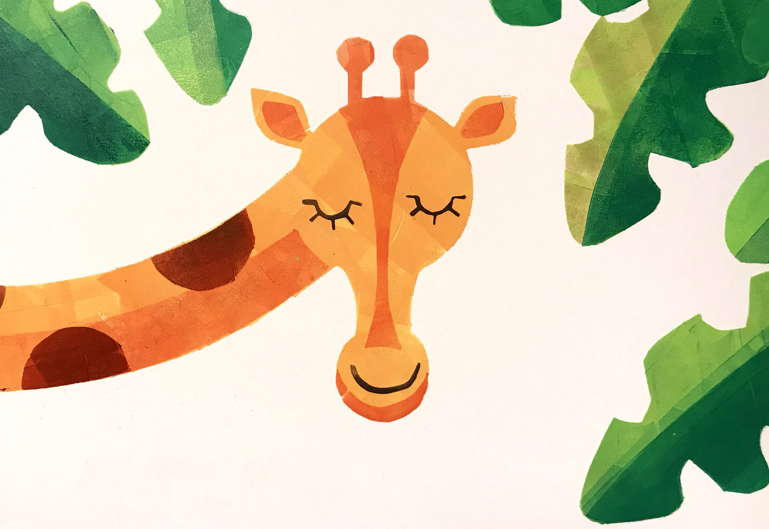 My up-cycled giraffe illustration from creative printmaking at the Folk House.