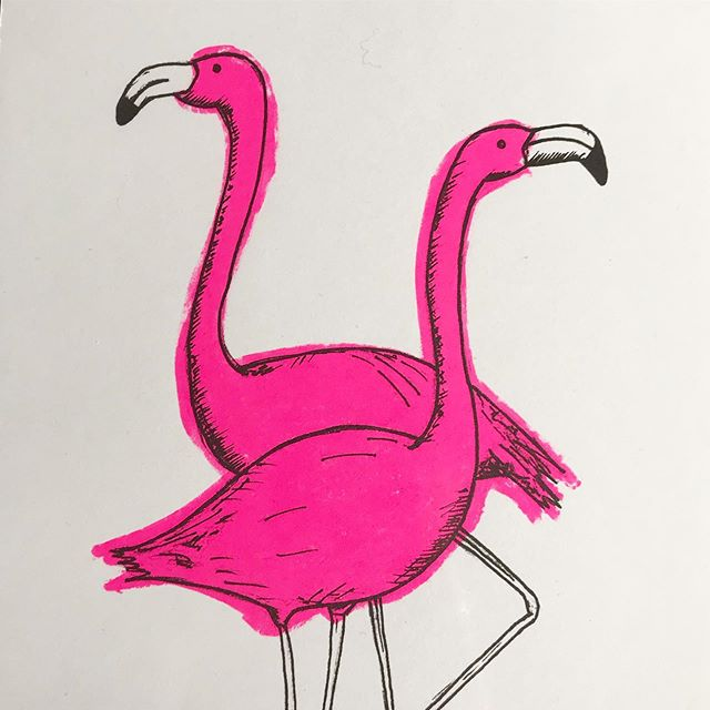 Some funky flamingos winging their way to a new home today! Why is there no flamingo emoji?! Sold on @artfinder_com. . . . #artfinder_com #screenprinted #funkyflamingo #iloveflamingos #smallbusinessuk #smallbizbristol #pink #fluoropink #handdrawn