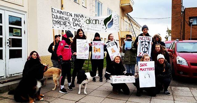 Idag har vi marscherat för djurens rättigheter. De lever i små burar under dåliga förhållanden och utan den respekten de förtjänar, detta vill vi ändra på!