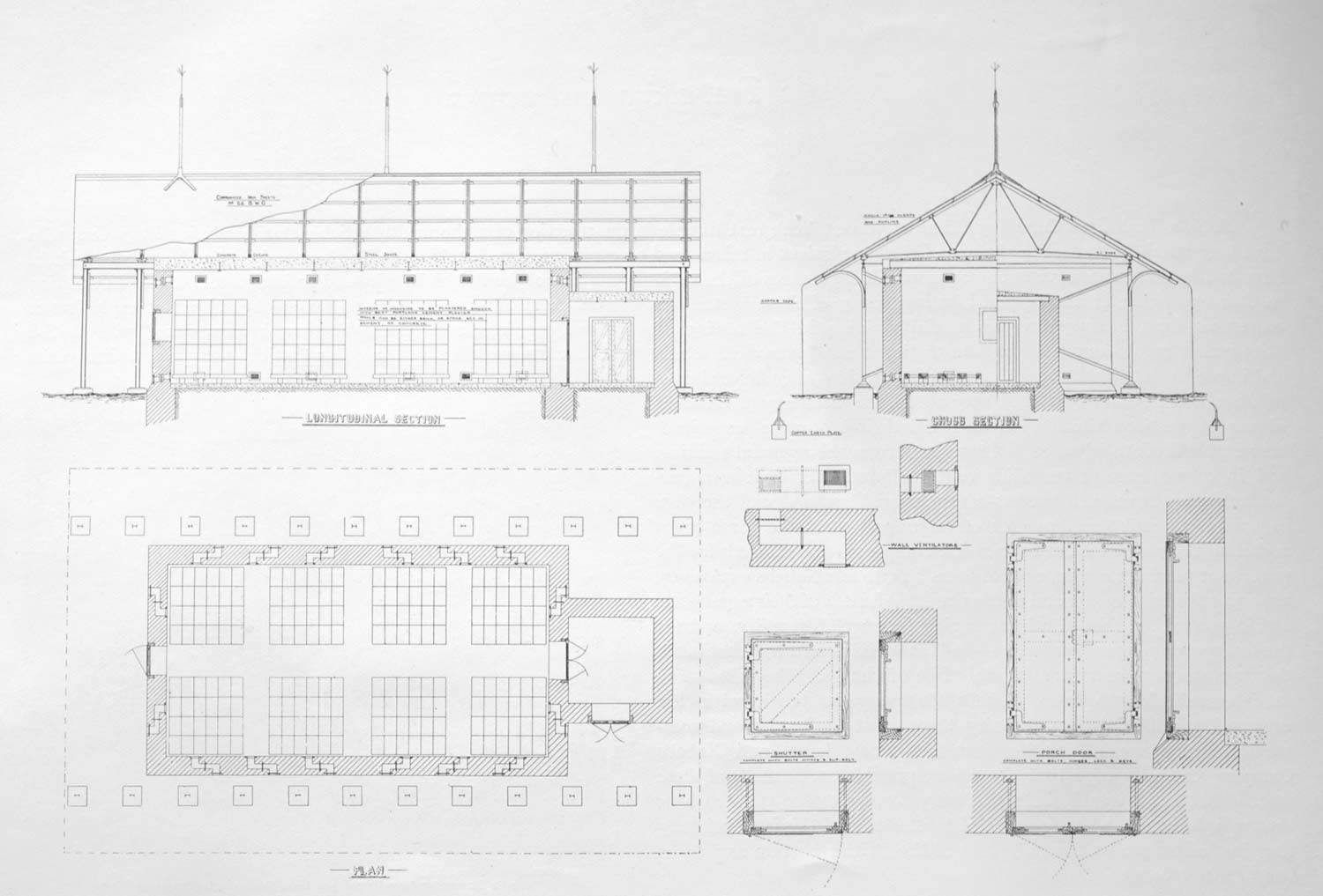 Plans and sections for a typical explosives factory magazine
