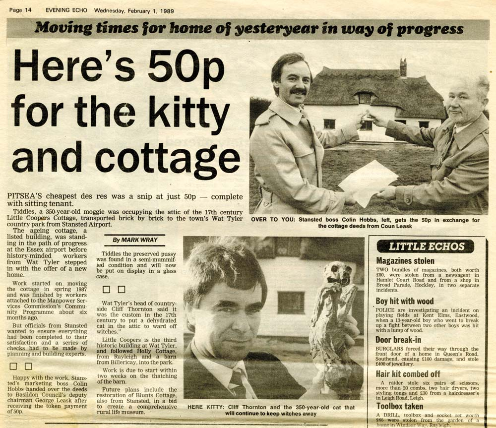 Article from the Evening Echo about the rescue of Little Cooper's Cottage.