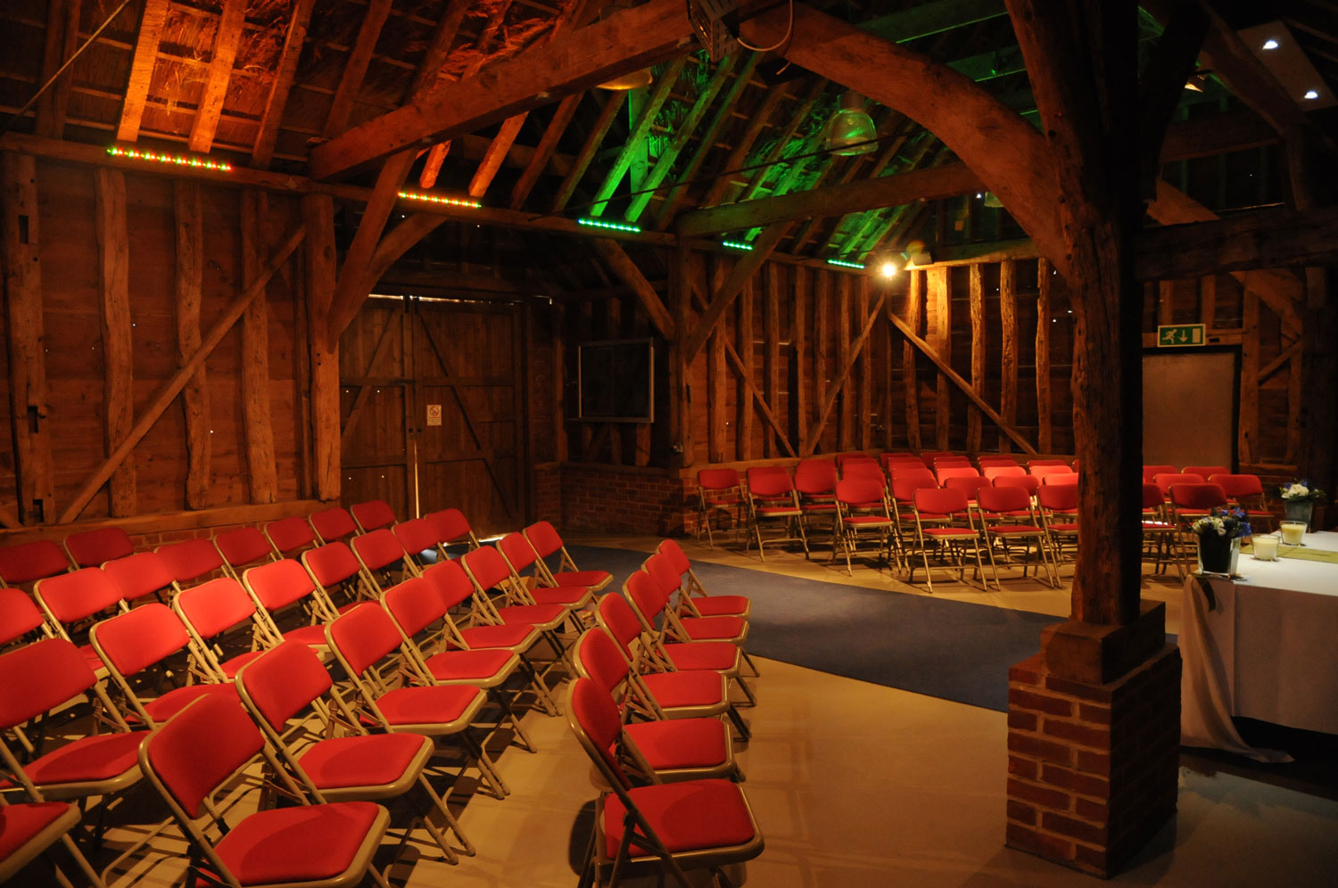 The atmospheric heritage barn ready for wedding guests