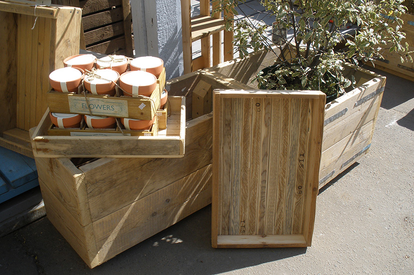 Hand-crafted trays and crates made at New Life Wood