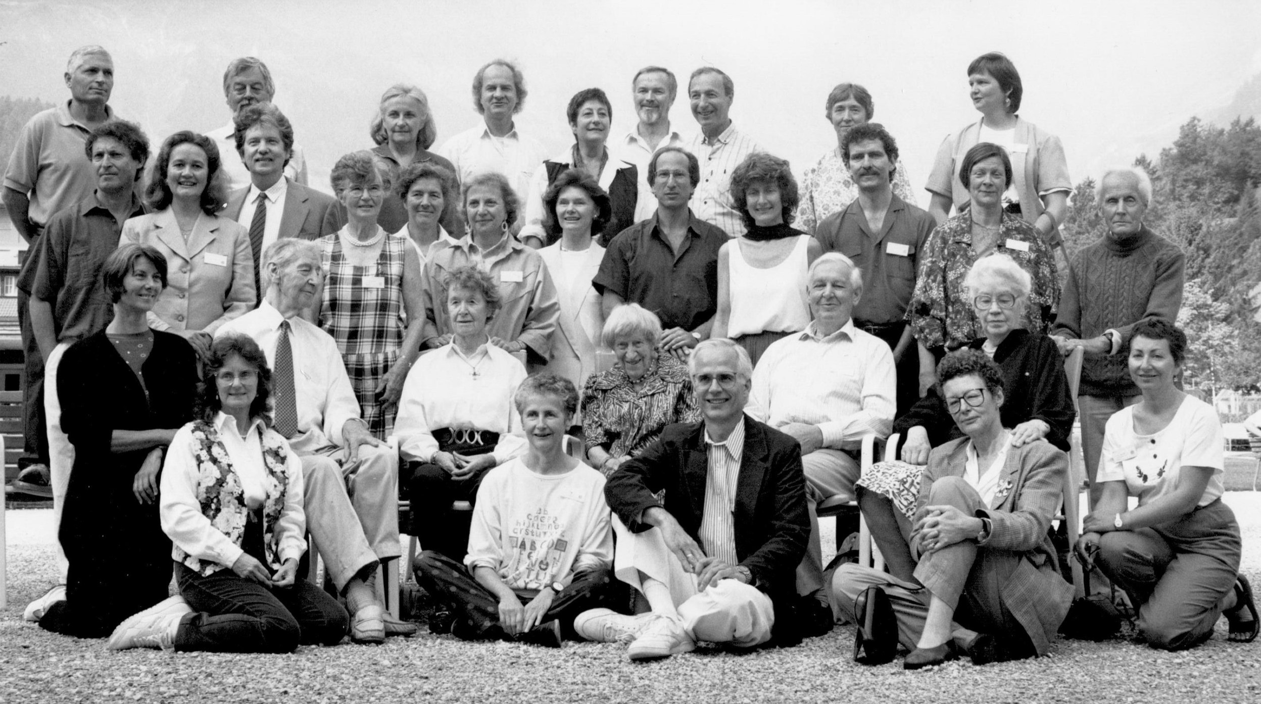 Alexander Teachers at the Third Annual International Alexander Congress in Engelberg, Switzerland. ACAT Founding Member Deborah Caplan, PT is far left front row. Photo ©1991 Holly Sweeney, used with permission.