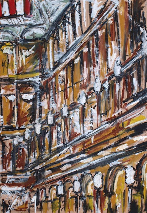 "28"" x 40"" Oil Stick on panel"