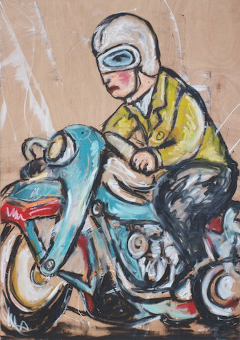 "28"" x 40"" Oil Stick on wood panel"