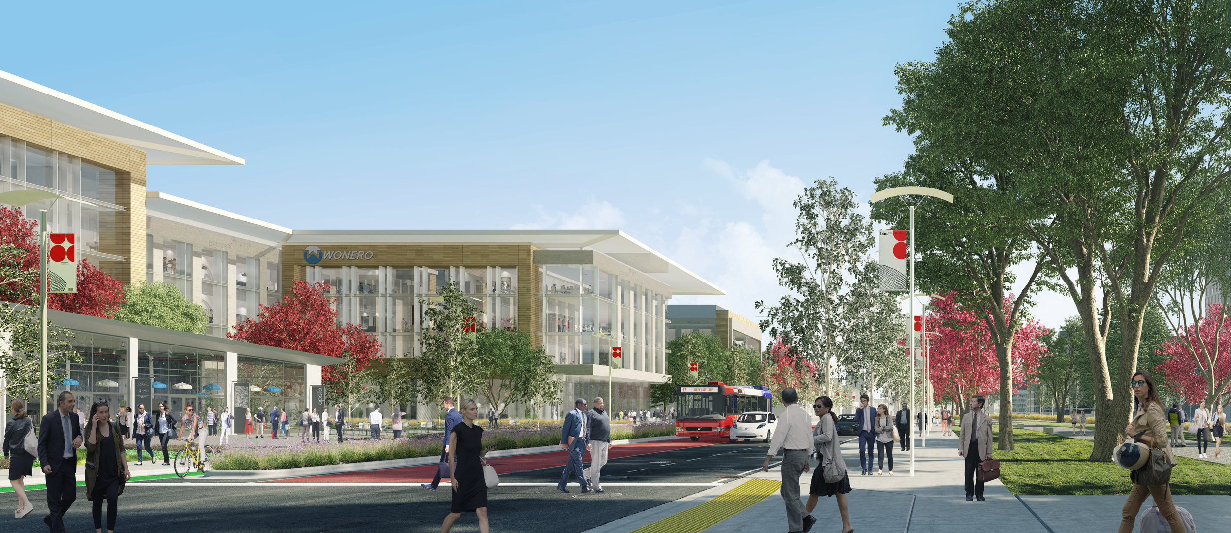 An HOK rendering of a bustling office center at the Draper prison site.