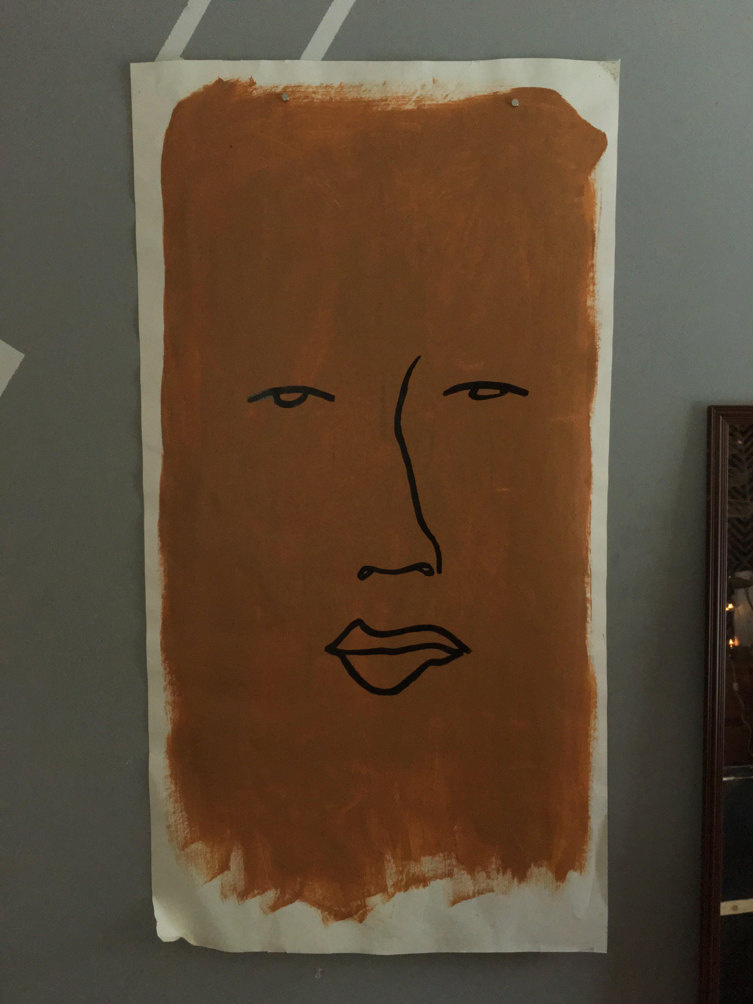 "Face on orange, 24""x35"""