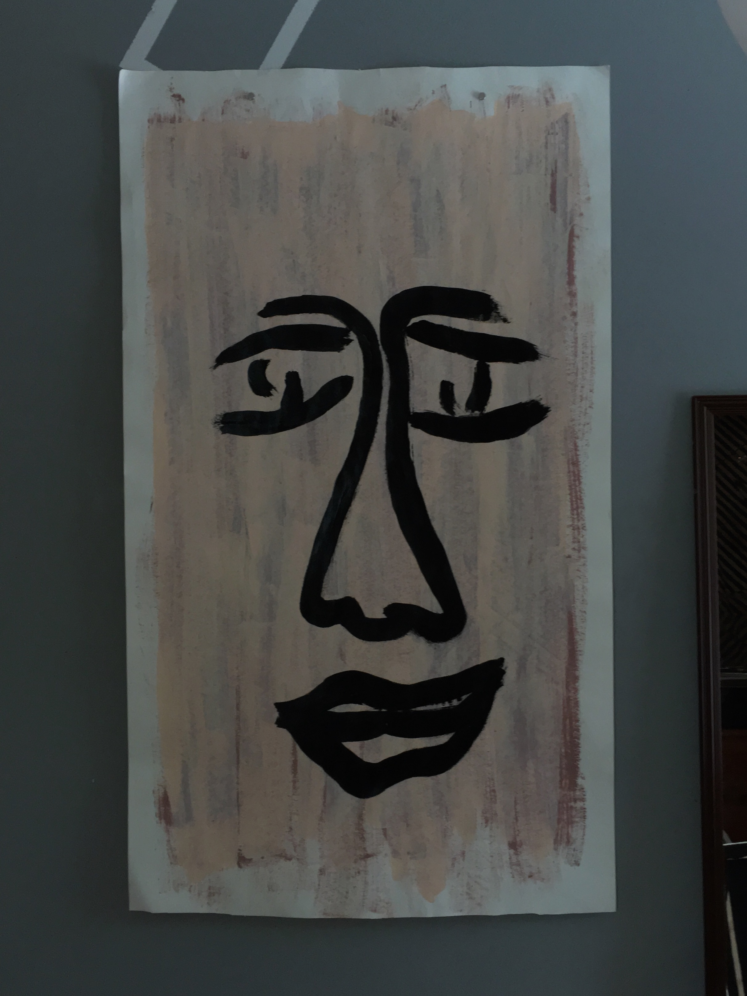 "Face on patchy pale, 24""x44"""