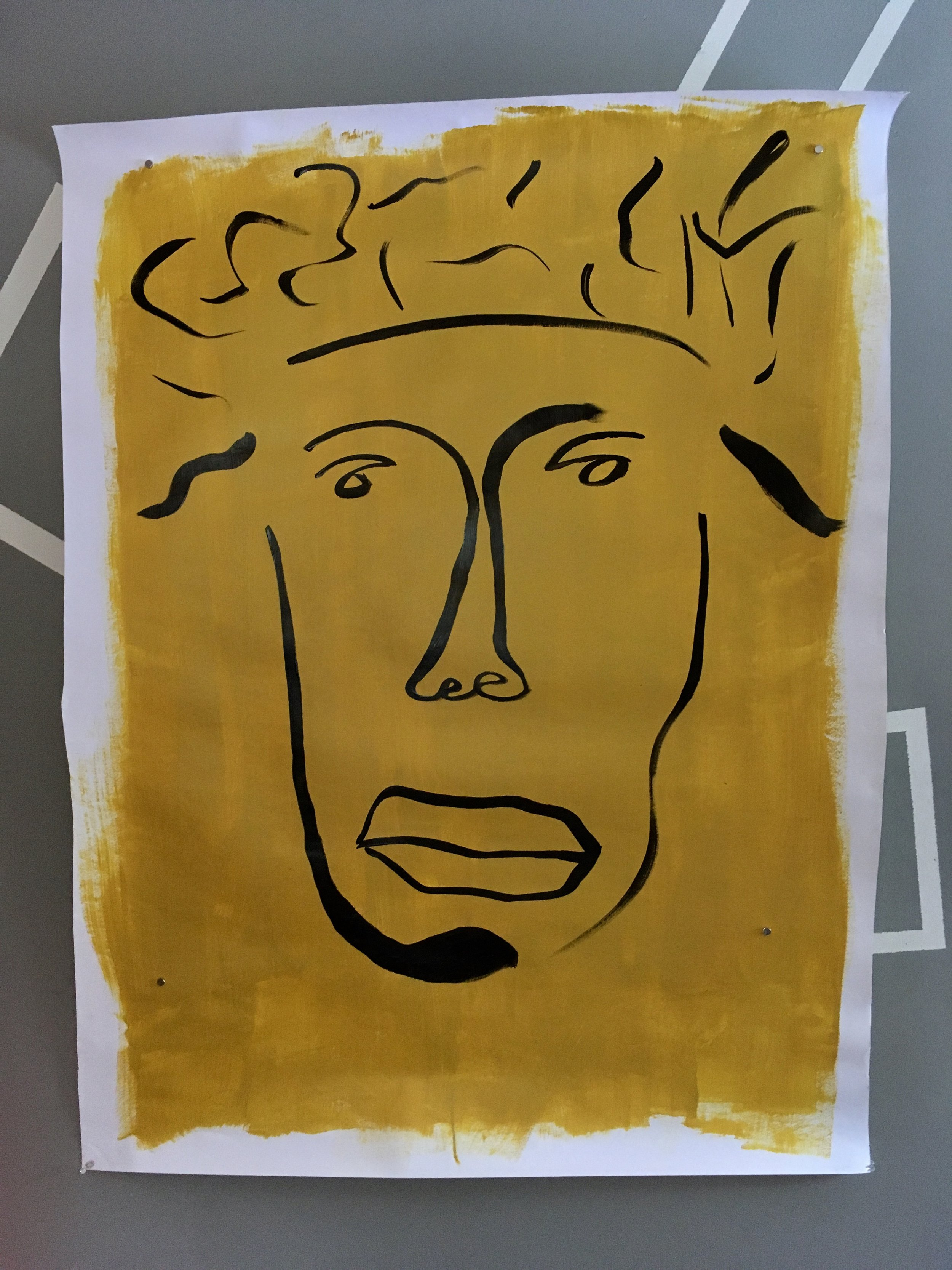 "Man with crazy hair on yellow, 36""x48"""