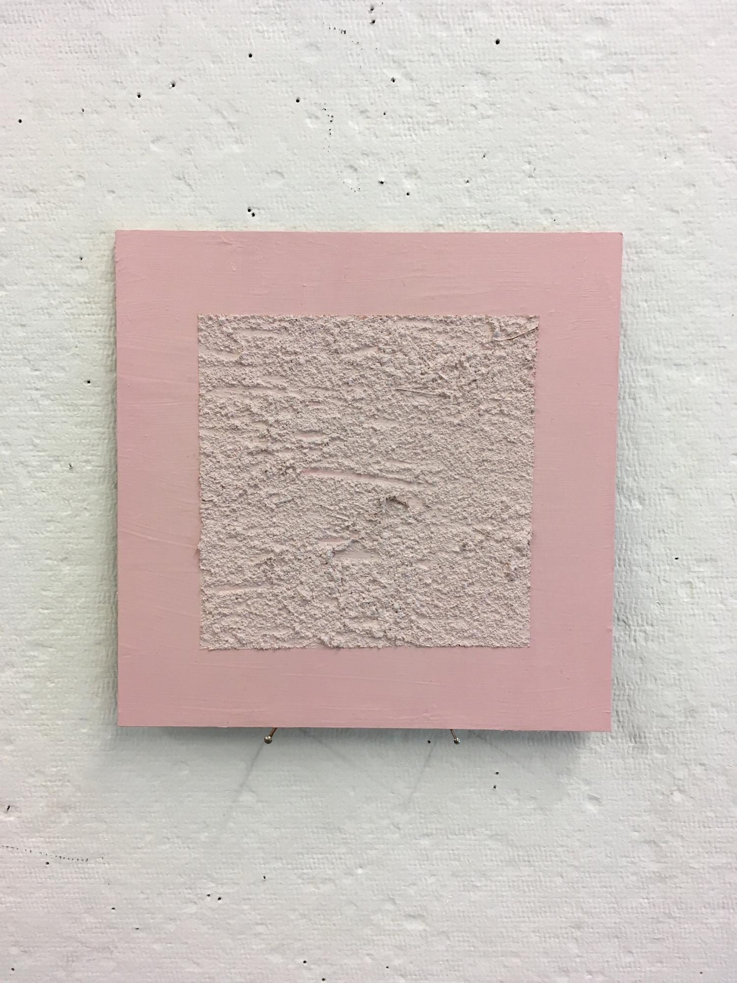 "Sandy pink on pink, 6""x6"""