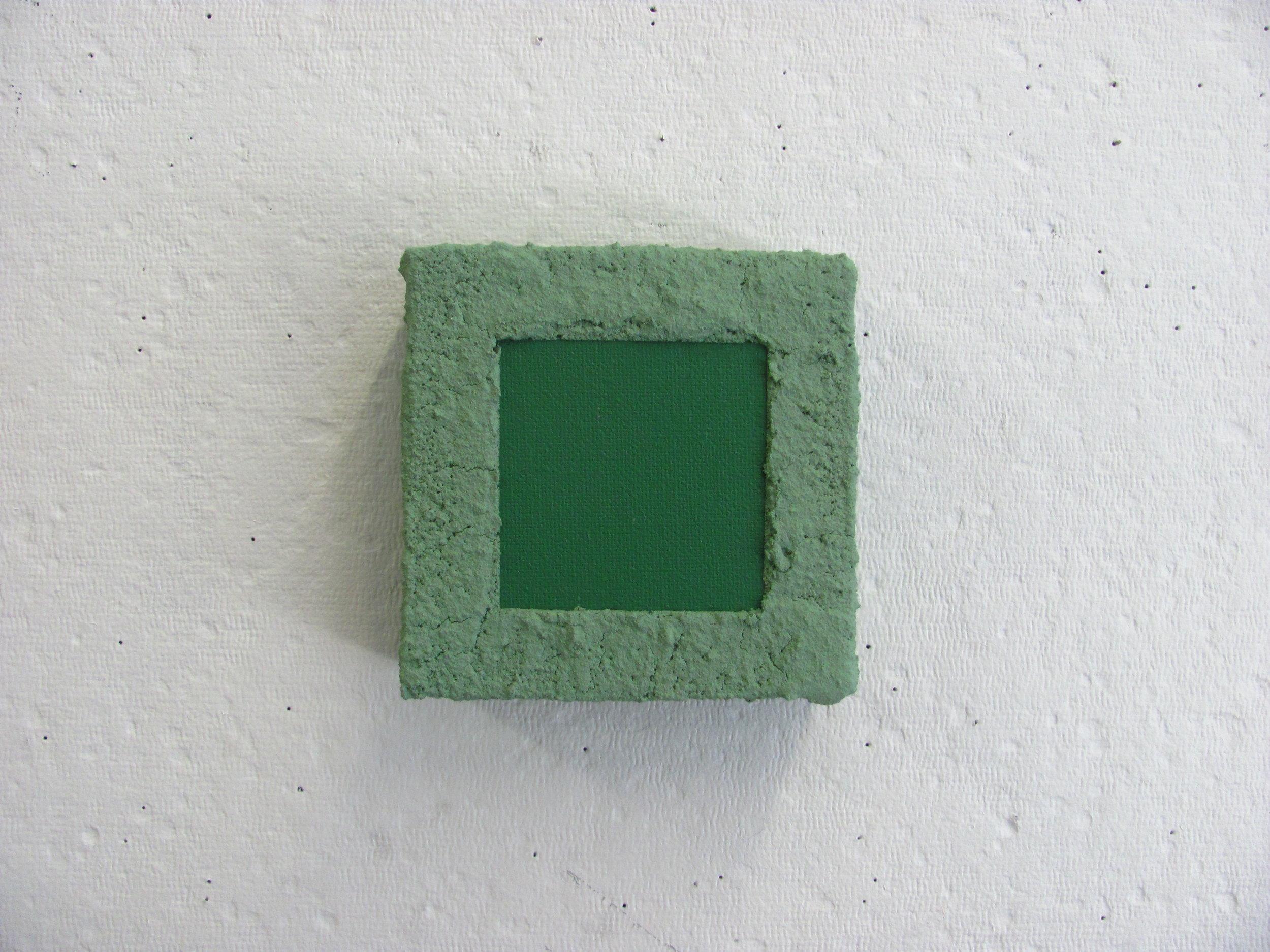 "Sandy green on green, 6""x6"""