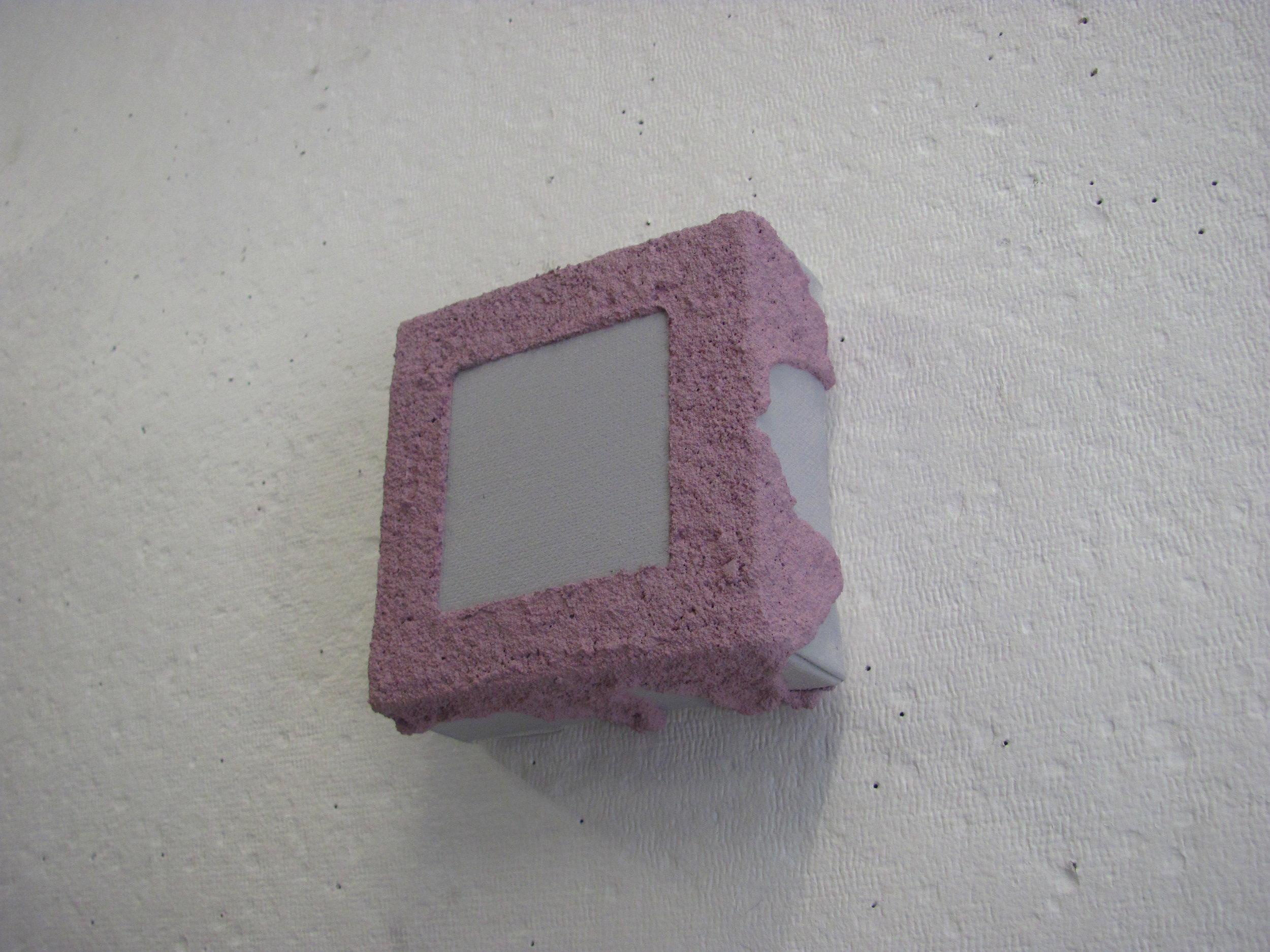 "Sandy pink drip over grey, 4""x4"""
