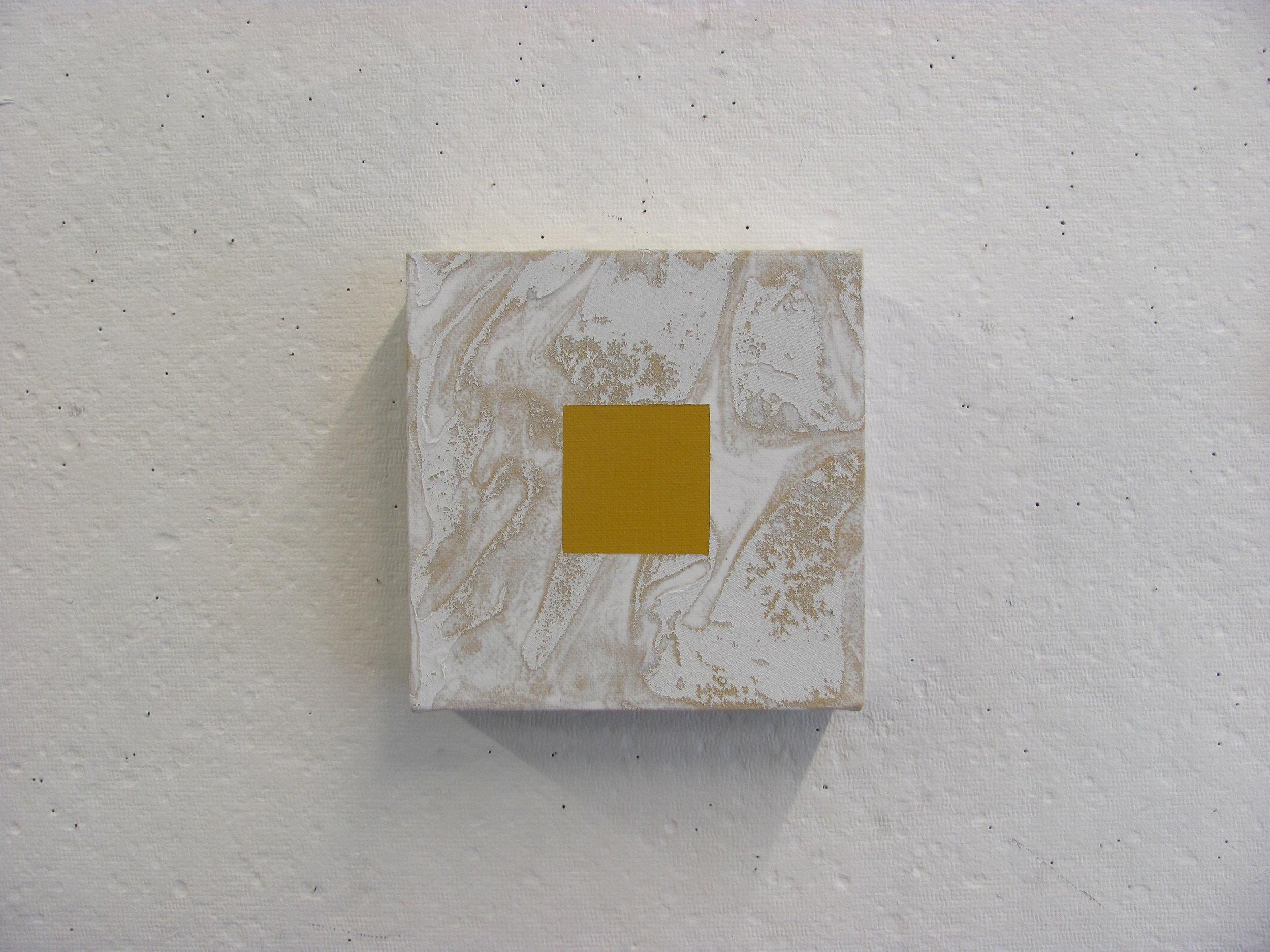"""White cotton texture around yellow, 6""""x6"""""""