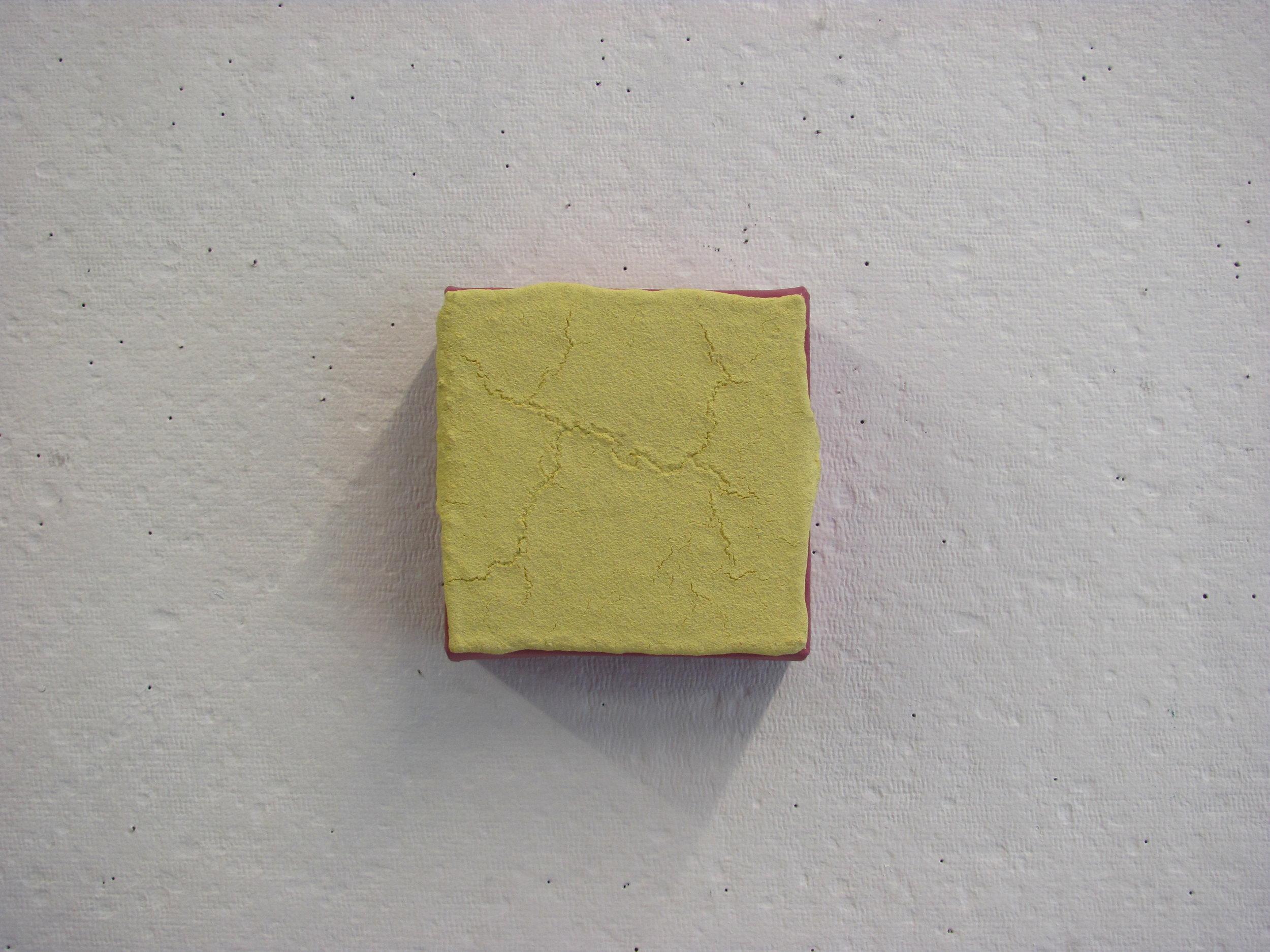 "Sandy yellow dripping off purple, 4""x4"""