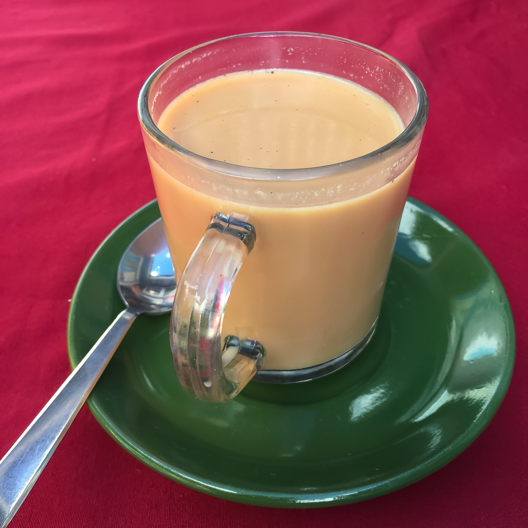 Masala Tea - Milk Tea infused with a mix of aromatic Indian spices. Sometimes the term Chai is also referred to this same drink~