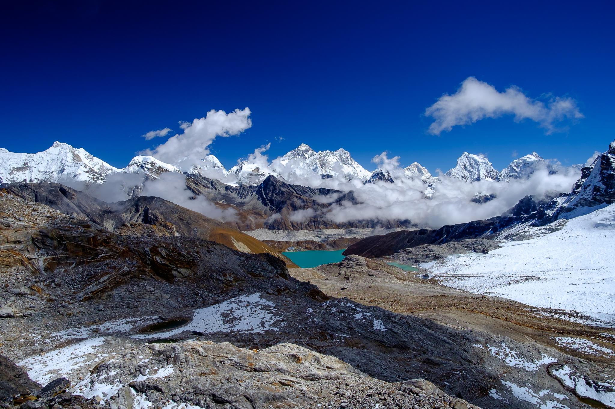 The whole enchilada: Cho Oyu (8,201m), Pumori (7,145m), Nuptse (7,879m), Mt. Everest (8,848m), Lhotse (8,511m), Makalu (8,463m), Ama Dablam (6,942m)