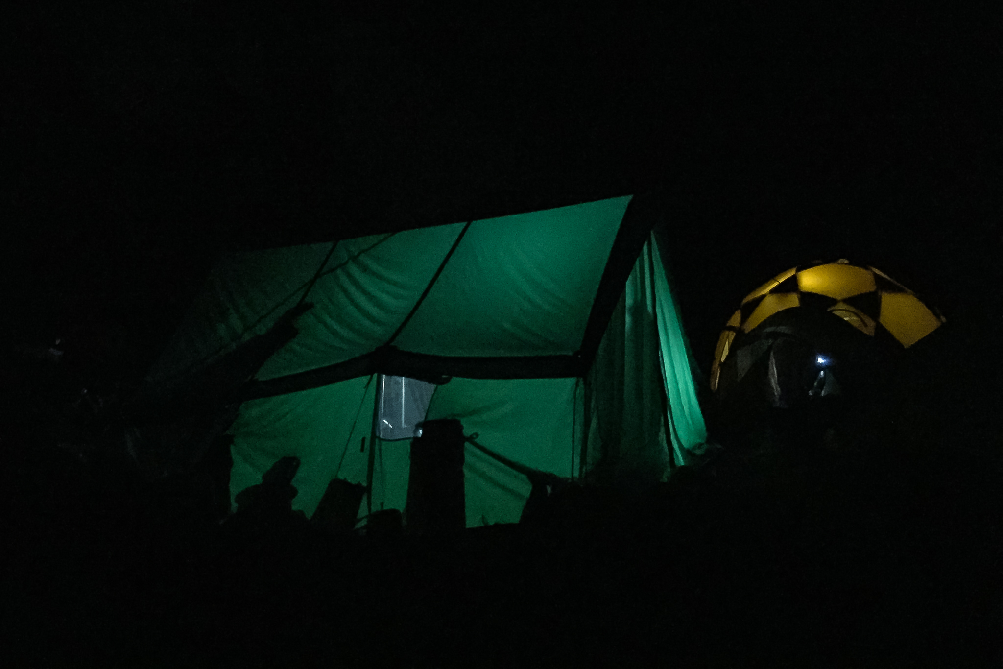 Our dining tent at Island Peak base camp, taken at midnight