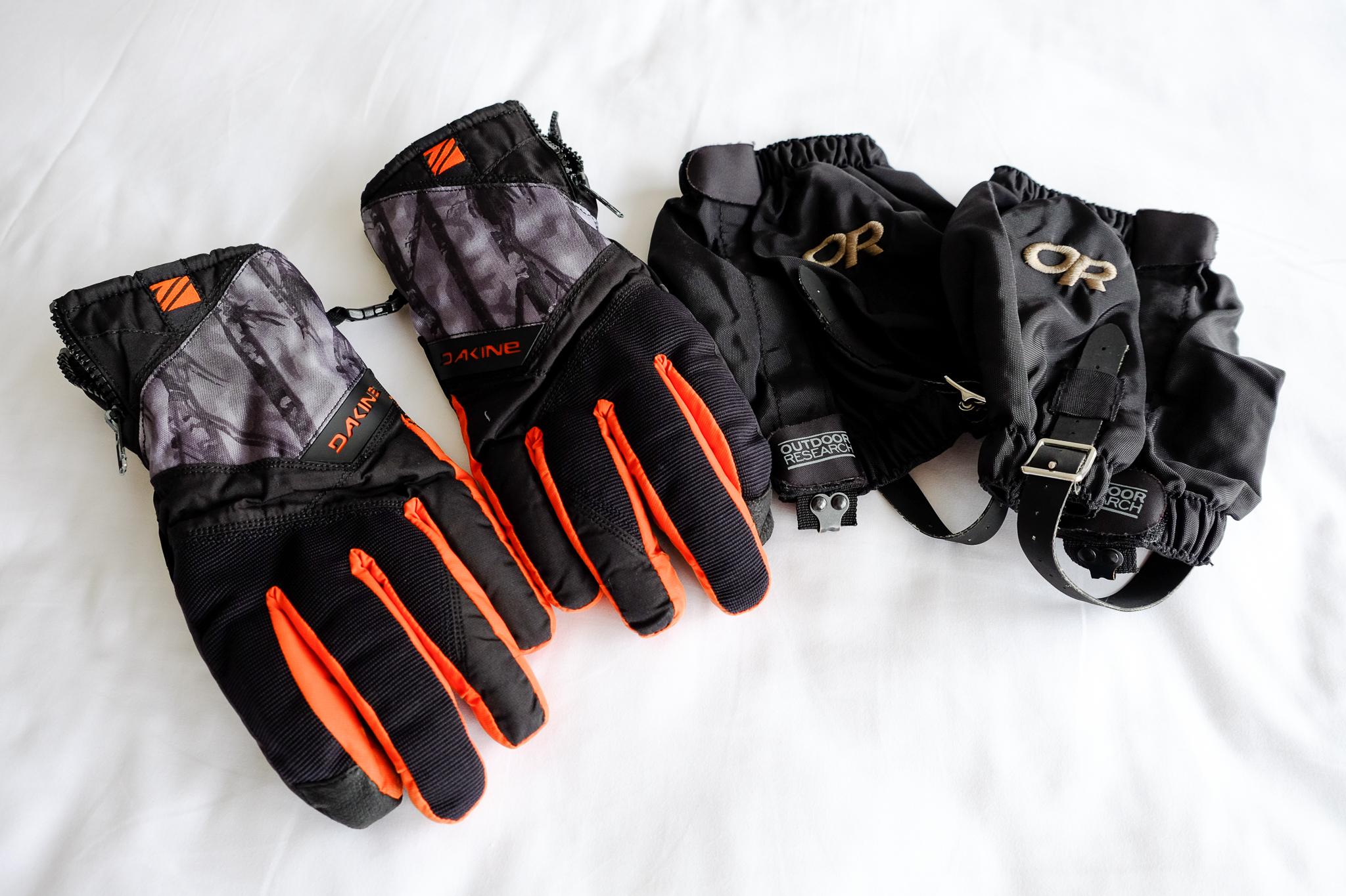 Dakine Bronco Gore-tex Gloves  &  Outdoor Research Rocky Mountain Low Gaiters