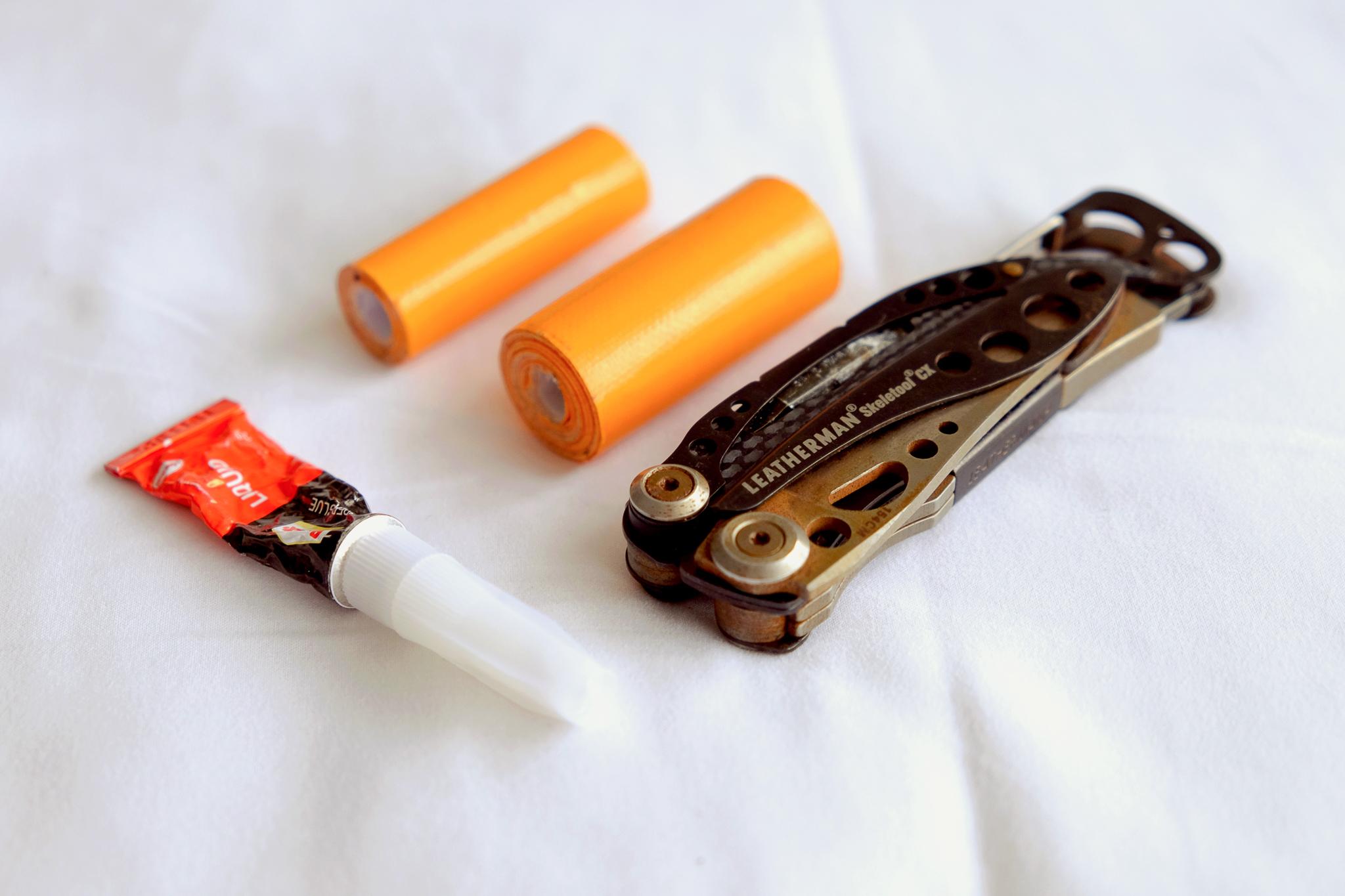 Leatherman Skeletool CX Multi-tool ,  UST Duct Tape ,  Chinese branded Super Glue