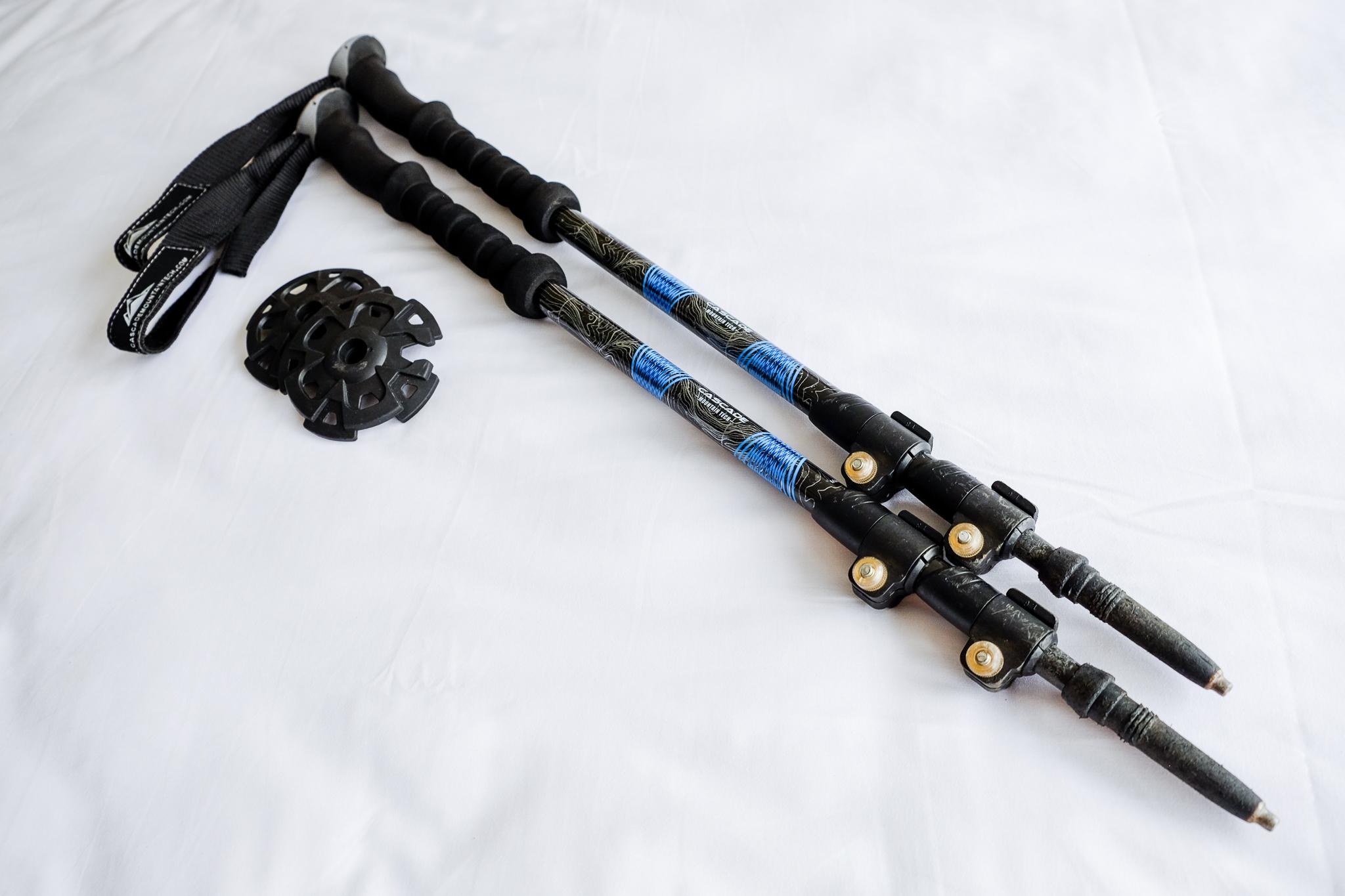 Cascade Mountain Tech Carbon Fibre Trekking Poles with snow basket attachments