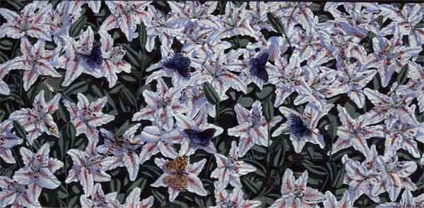 """Butterflies & Lillies - Acrylic   24""""x48"""""""