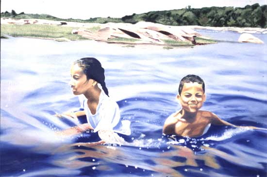 Playing in the River - Oil on Wood Panel | 4' x 6'