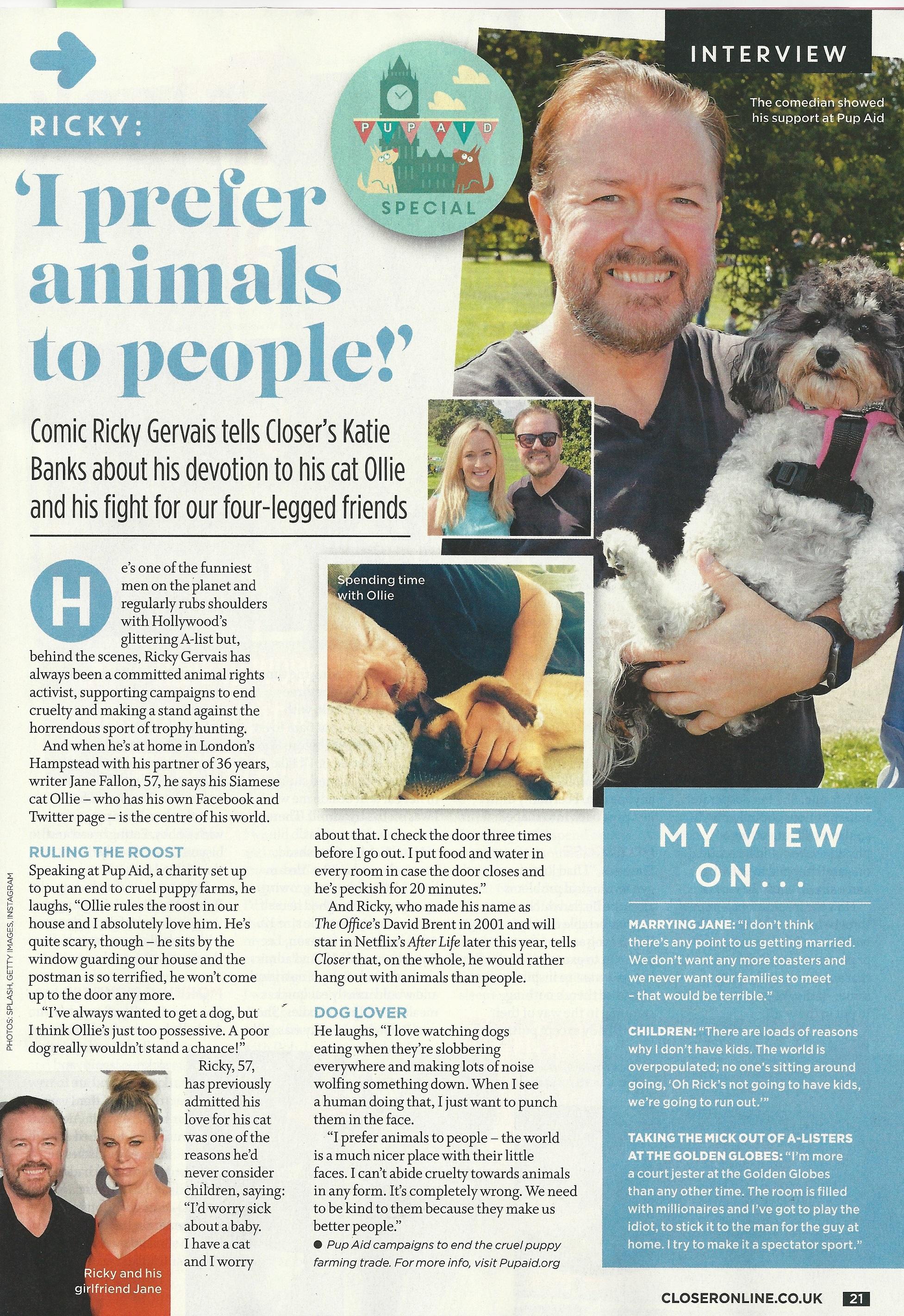 Ricky Gervais, Closer Interview