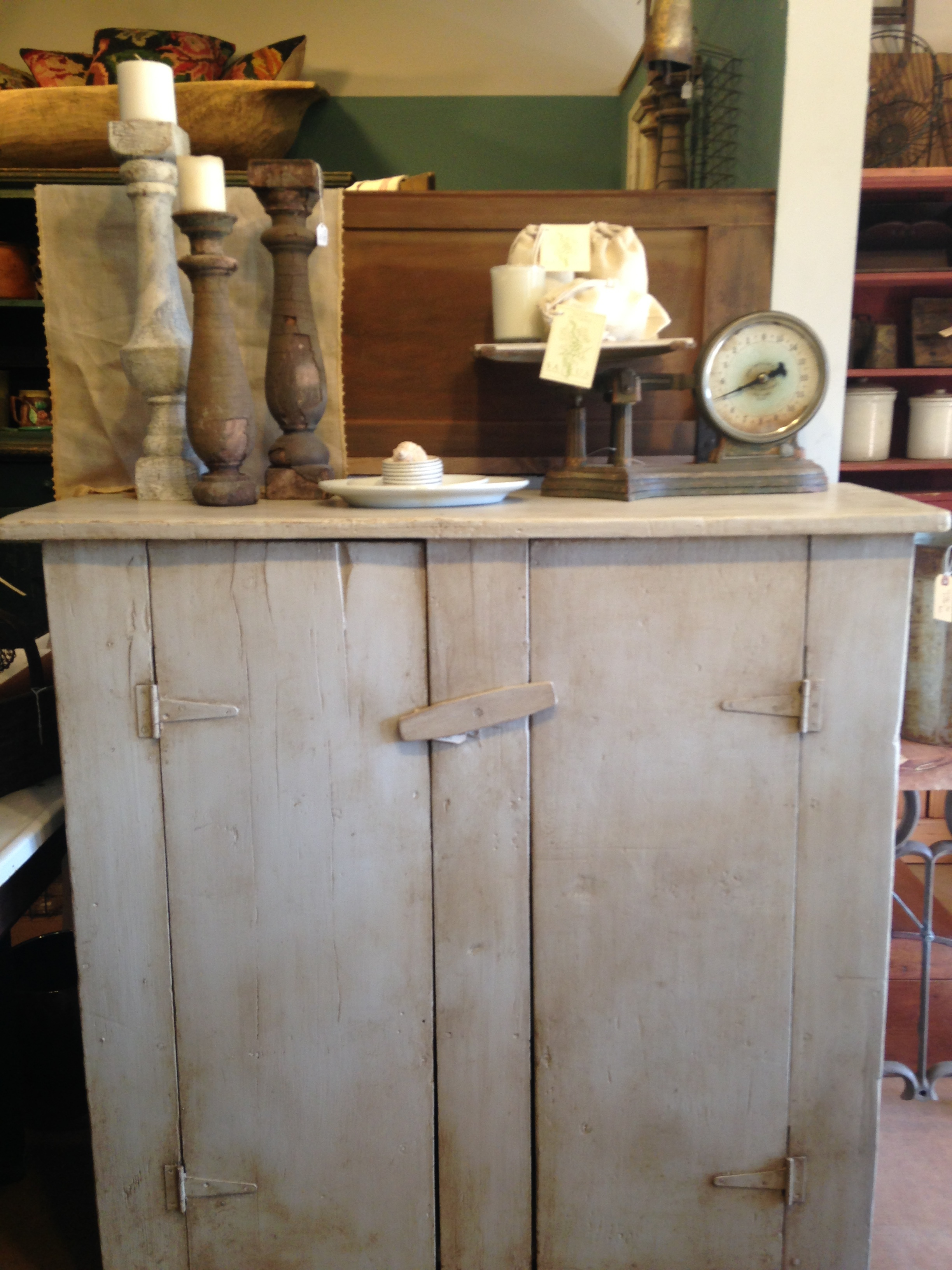 "This farm cupboard was transformed from a neglected barn find to a rustic treasure with a new ""old"" finish by Julie…and later a custom made hutch top by Martin to suit the buyers needs. See our projects portfolio for the completed product."