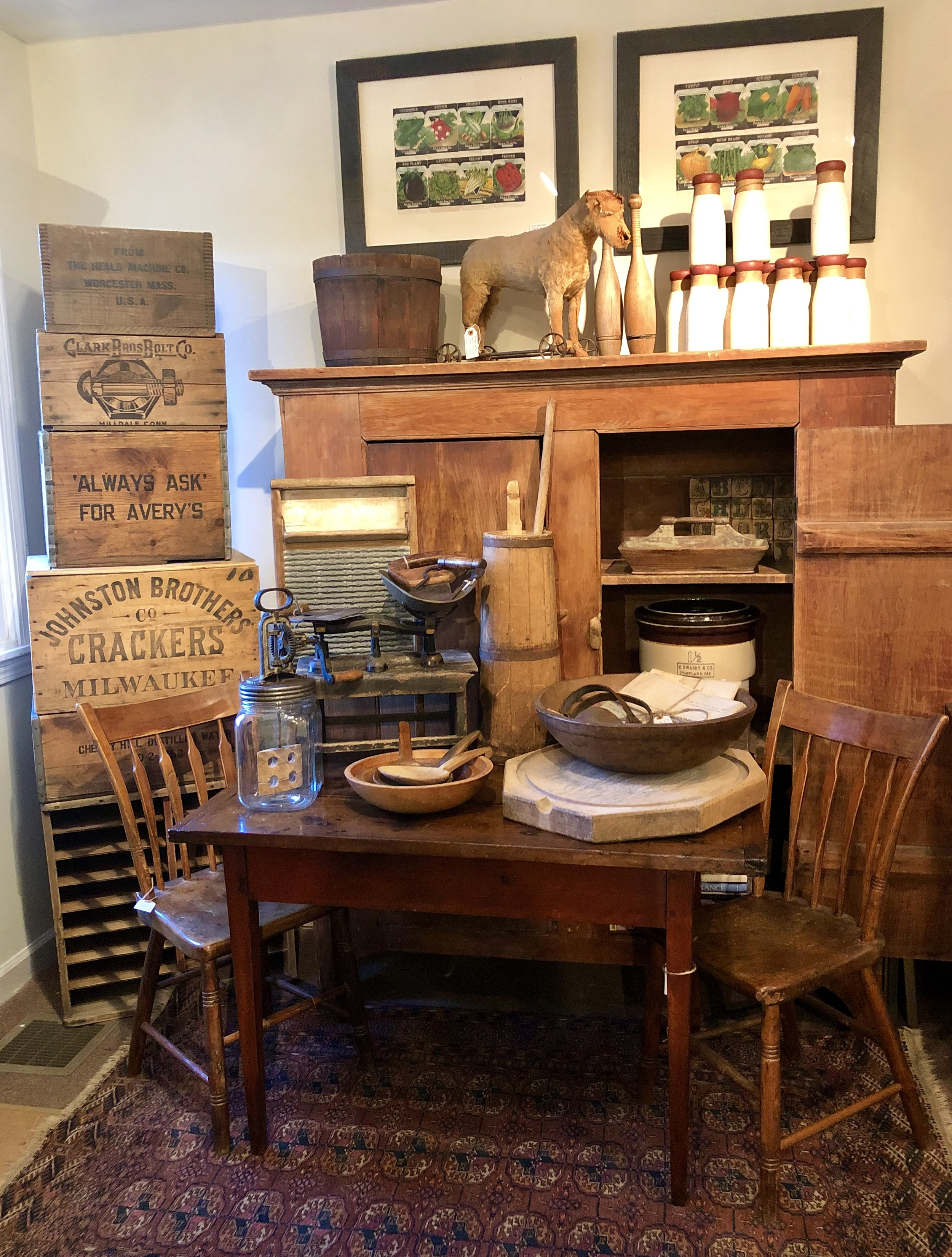 One of my favorite groupings. A quintessential collection of farmhouse furniture and accessories.