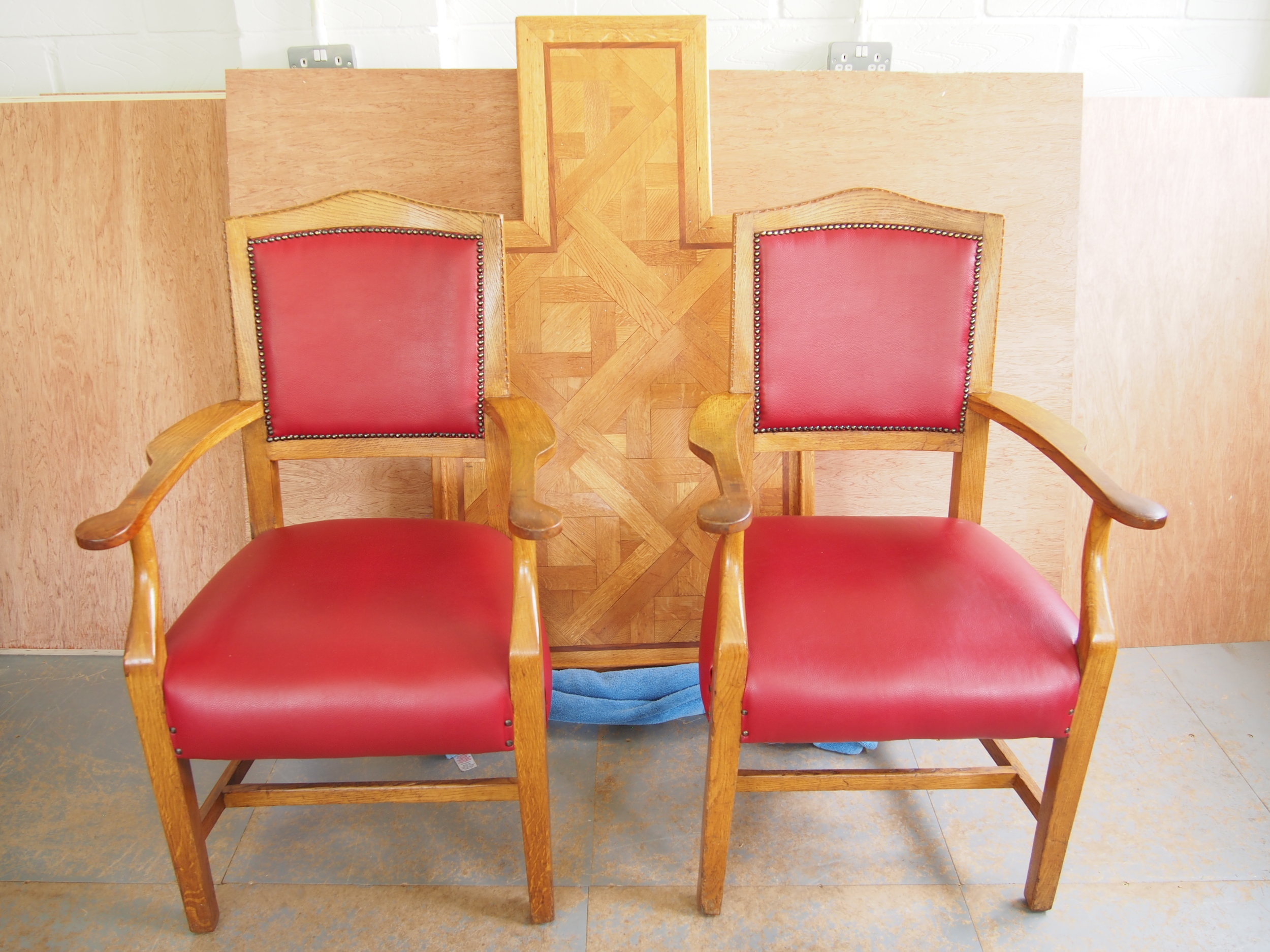 After Restoration of Oak Conference Arm Chairs   New joints have been made where broken and pervious poorly restored areas have been repaired.